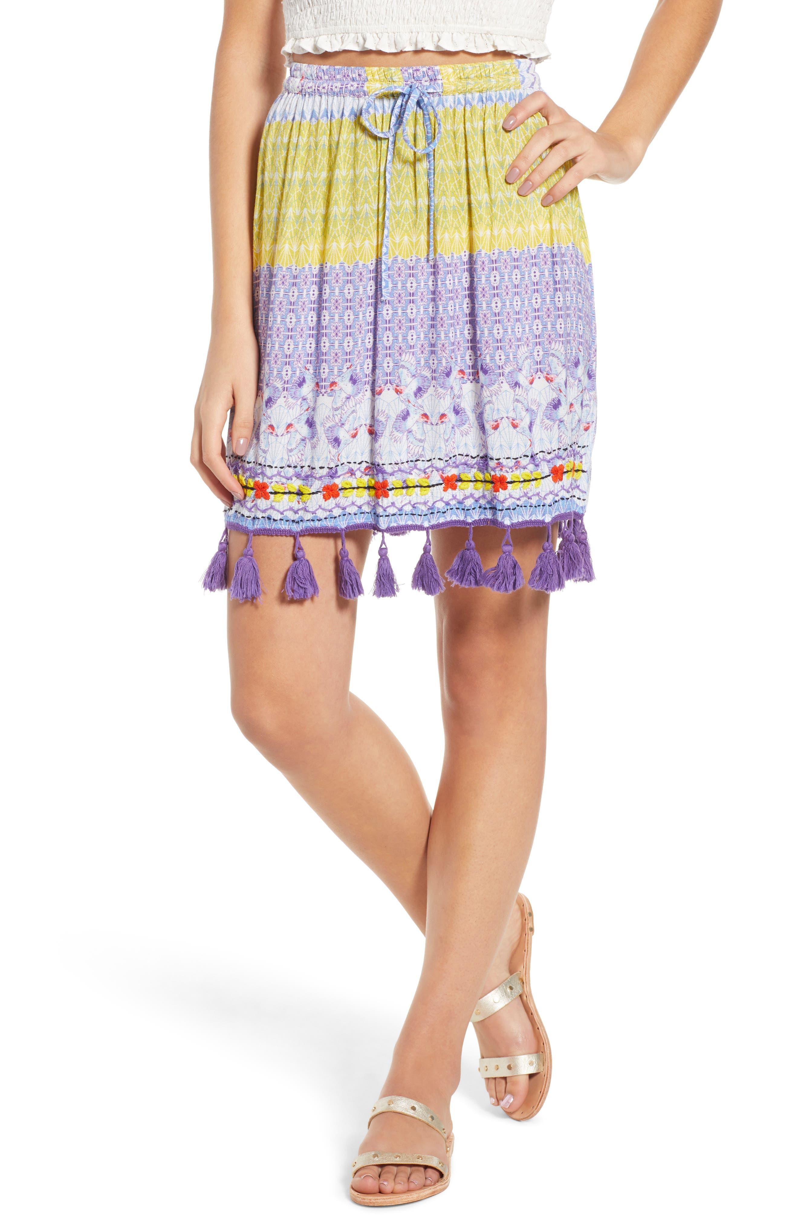 Tropic Bird Tassel Trim Skirt,                             Main thumbnail 1, color,                             500
