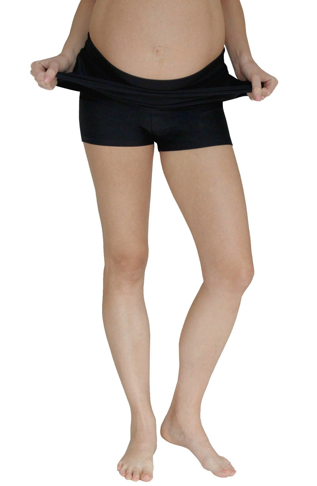 Foldover Maternity Swim Skirt with Attached Boyshorts,                             Alternate thumbnail 4, color,                             BLACK