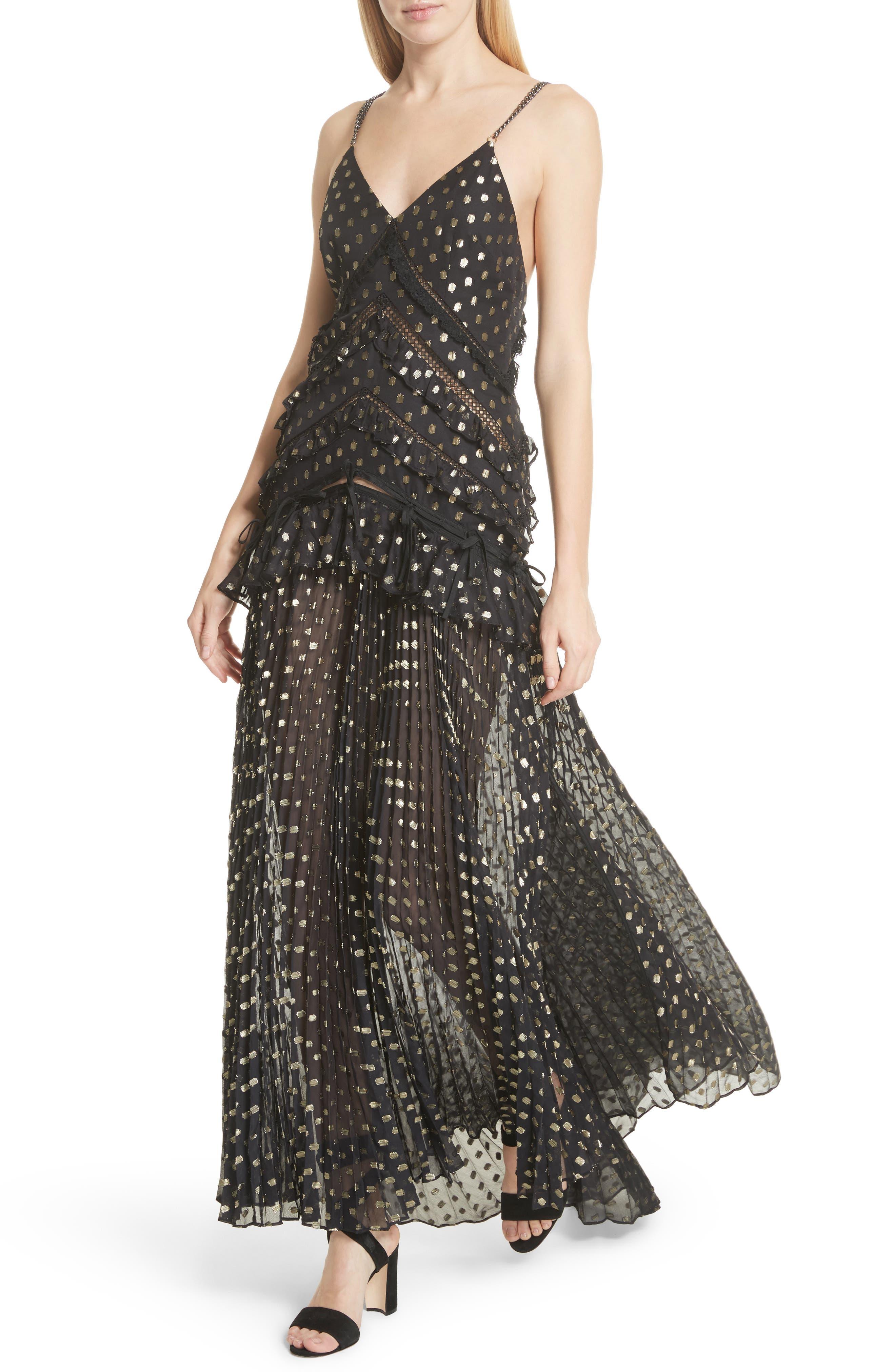 Metallic Polka Dot Chain Strap Dress,                             Alternate thumbnail 4, color,                             004