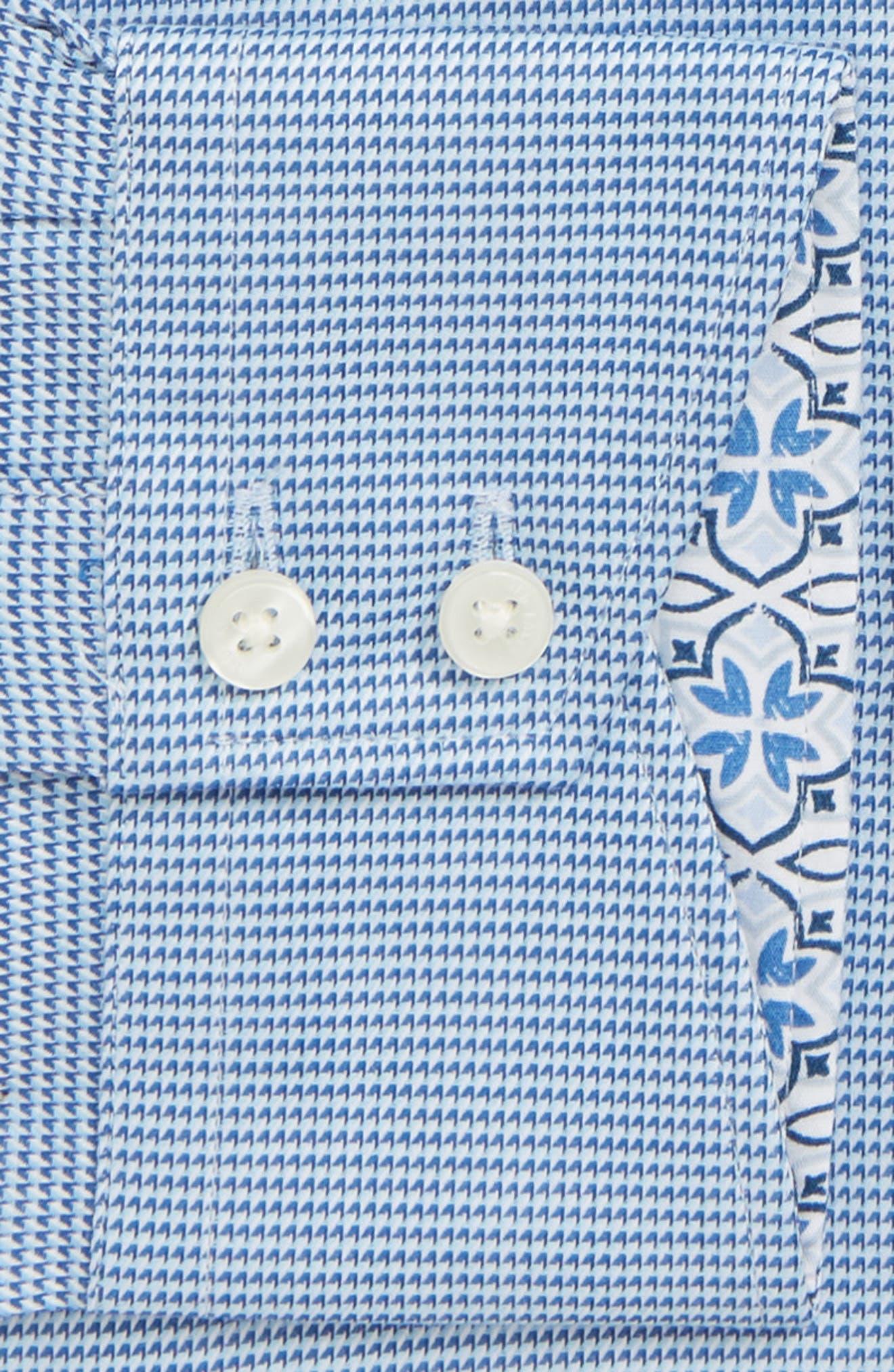 Shell Trim Fit Print Dress Shirt,                             Alternate thumbnail 2, color,                             BLUE