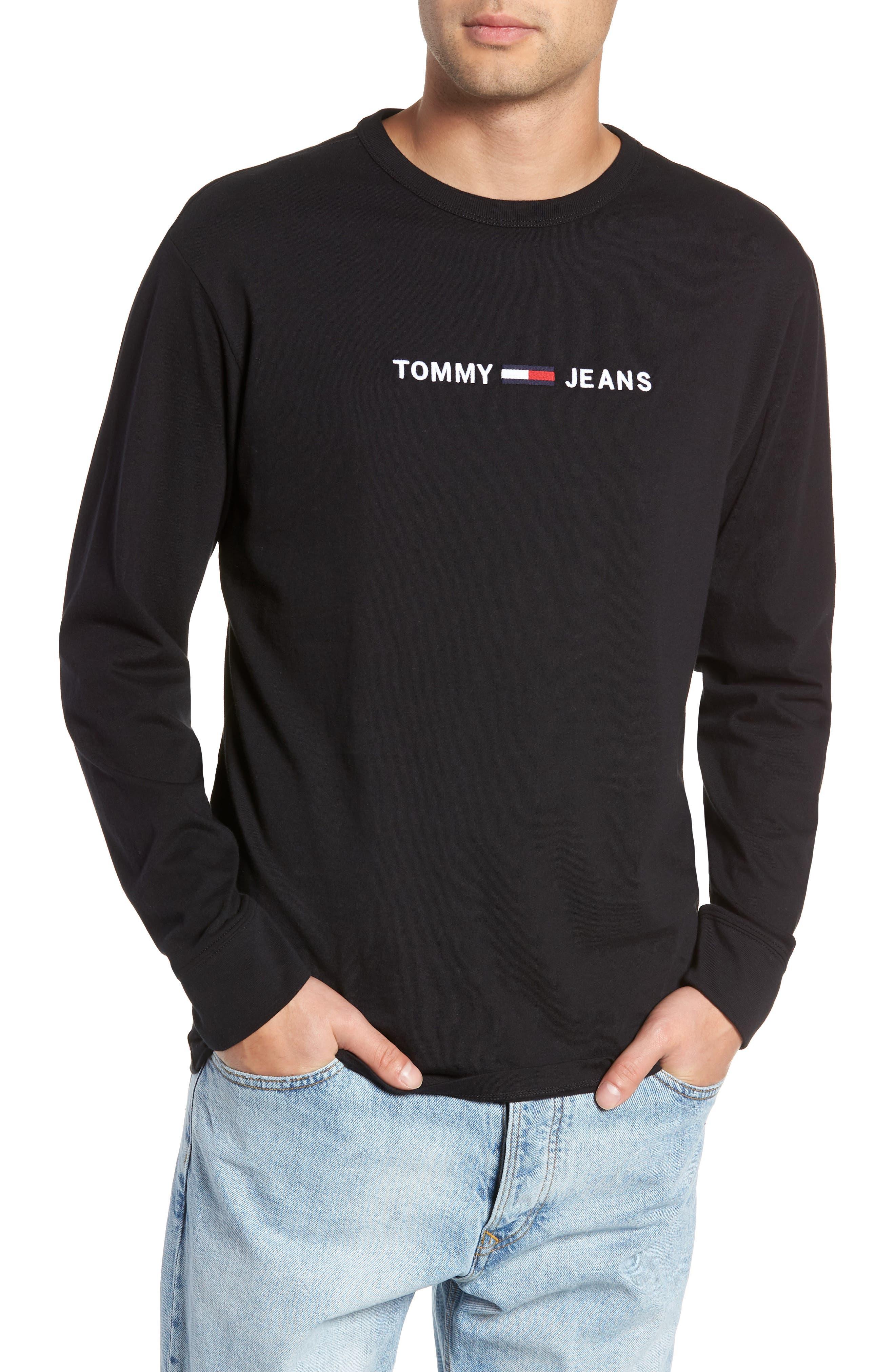 TJM Logo Graphic Long Sleeve T-Shirt,                             Main thumbnail 1, color,                             TOMMY BLACK