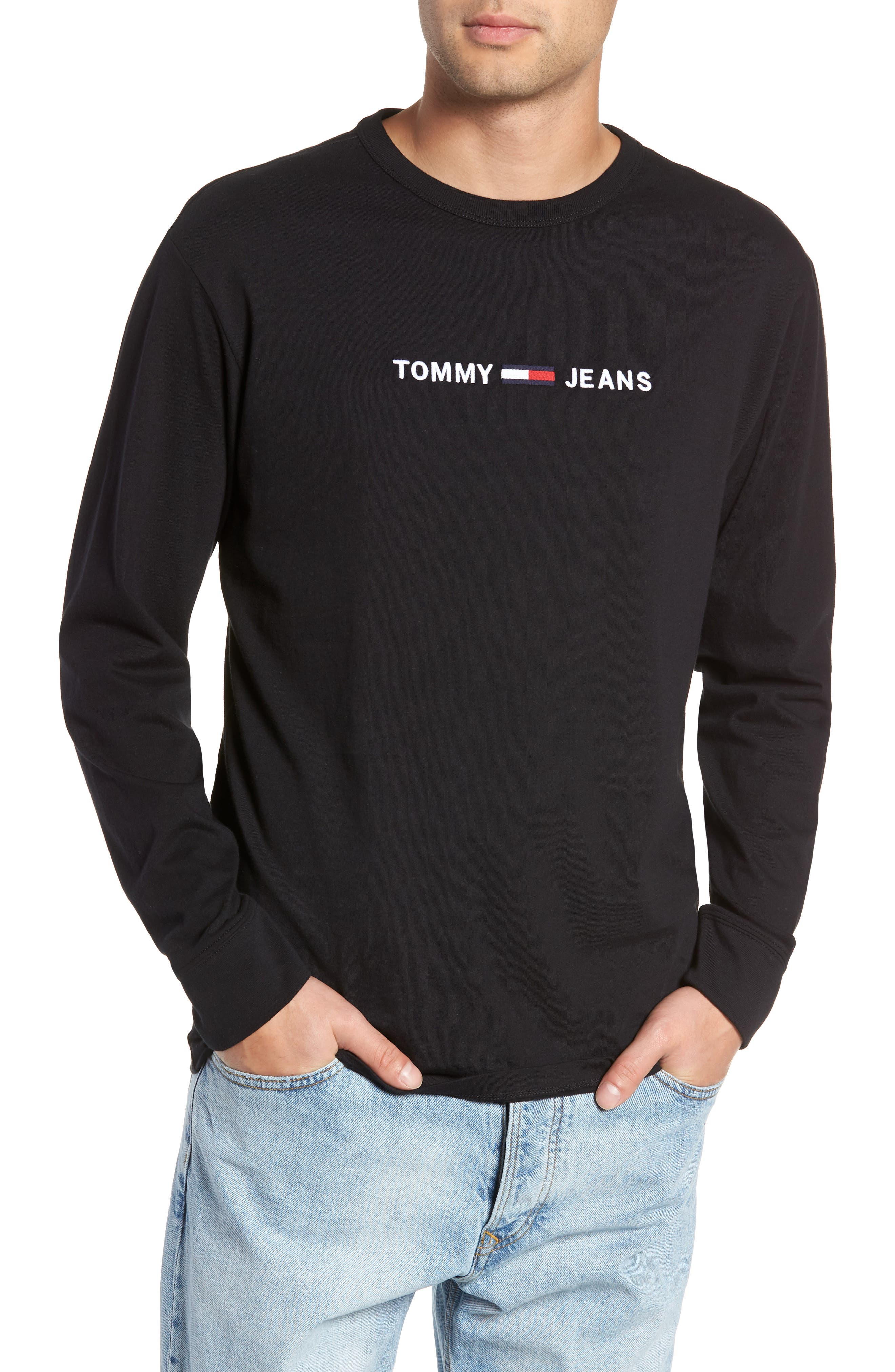 TOMMY JEANS TJM Logo Graphic Long Sleeve T-Shirt, Main, color, 001