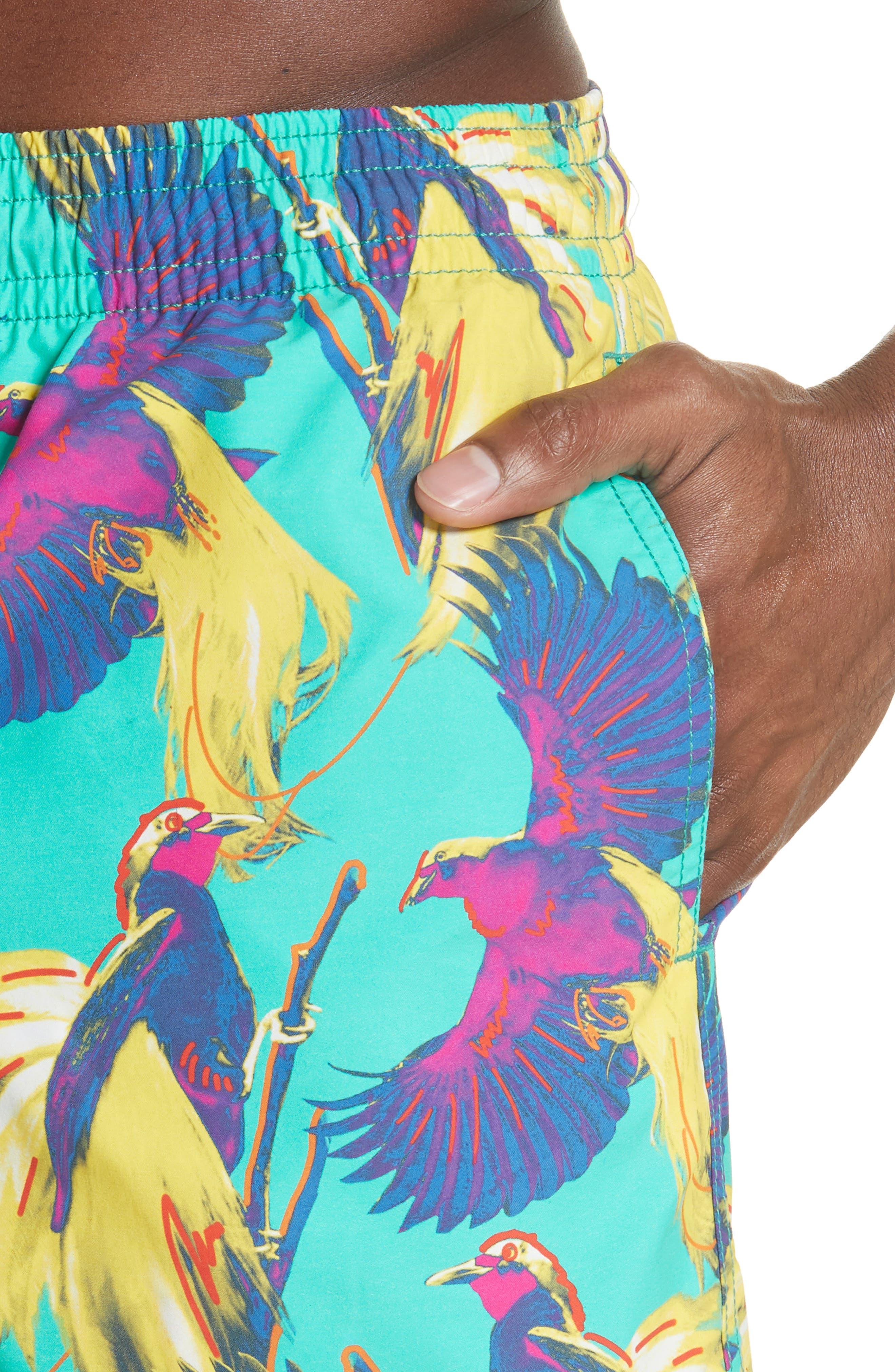 Birds of Paradise Swim Trunks,                             Alternate thumbnail 4, color,                             VERONESE GREEN