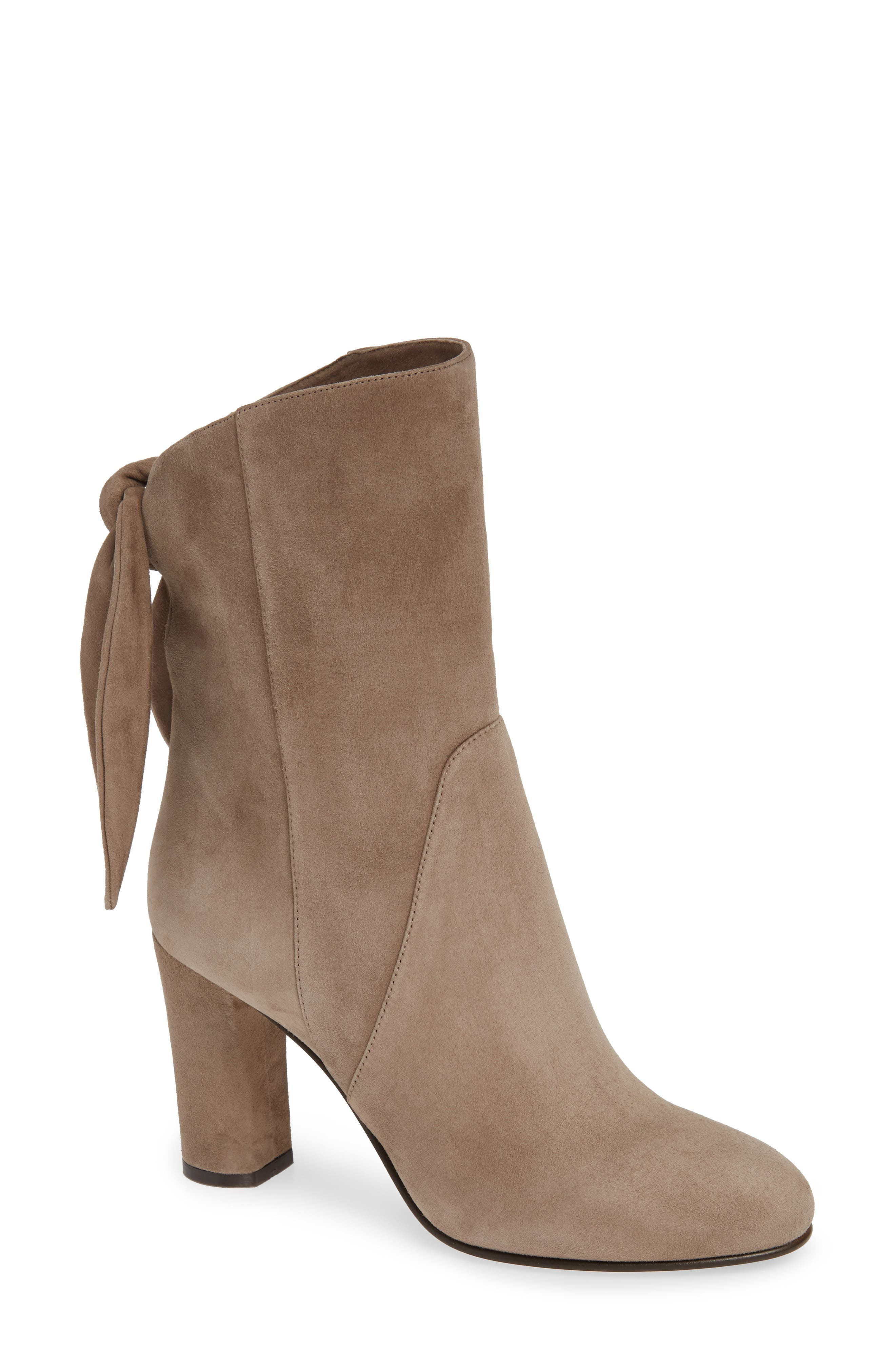 Malene Knotted Bootie,                             Main thumbnail 1, color,                             STONE SUEDE