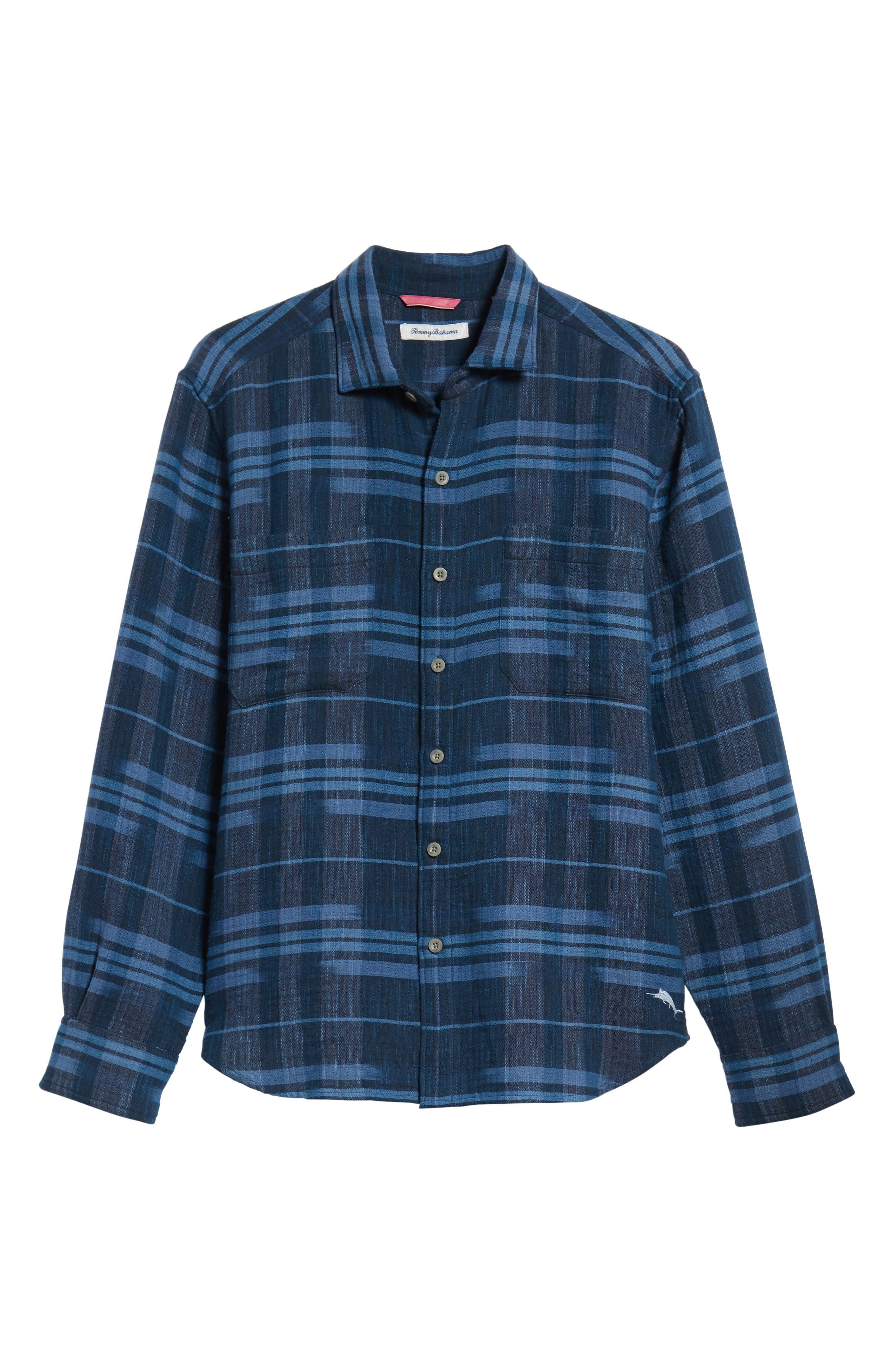 Amparo Plaid Sport Shirt,                             Alternate thumbnail 6, color,                             BLUE JEAN
