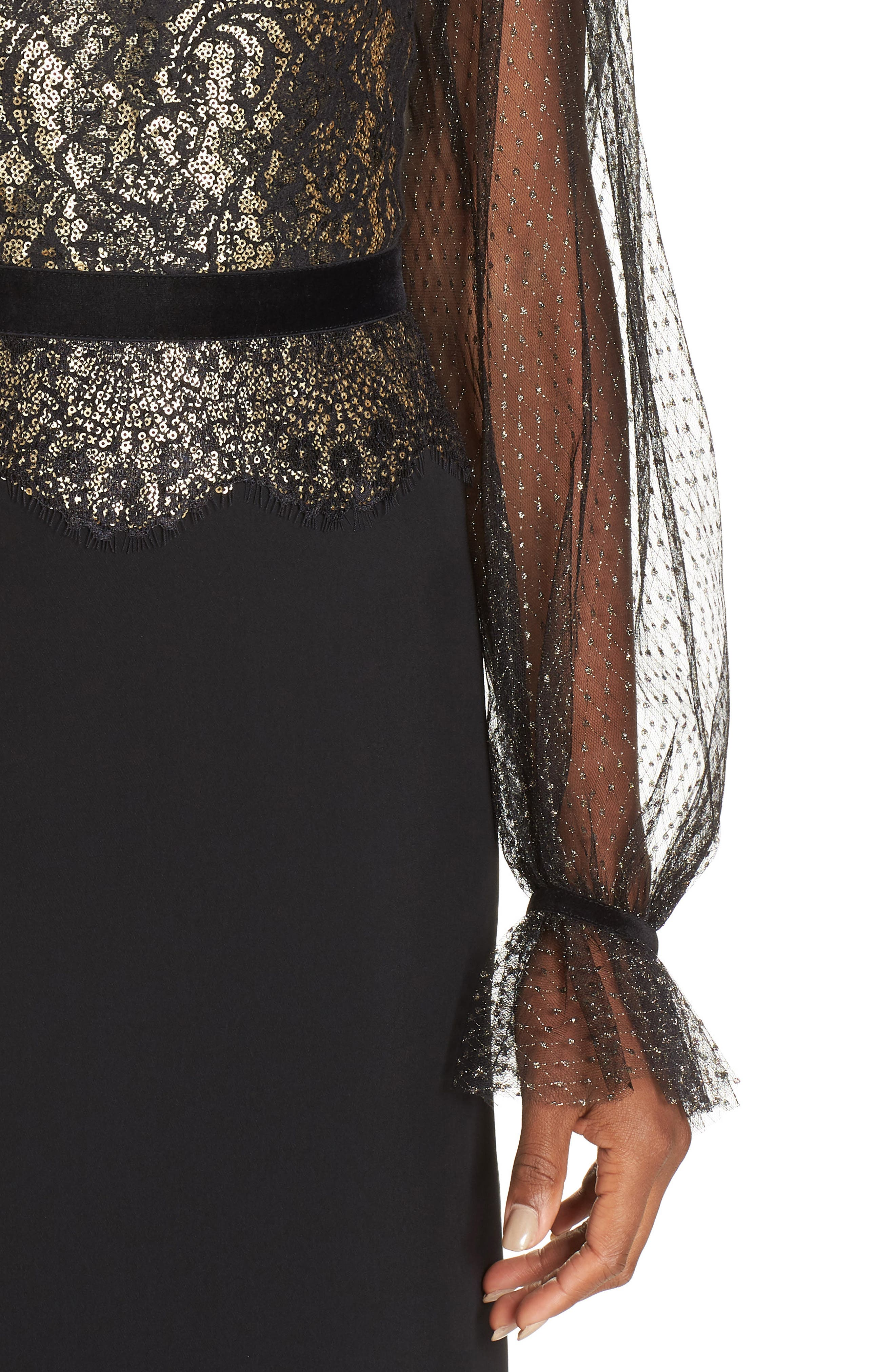 Crepe & Sequin Gown,                             Alternate thumbnail 4, color,                             BLACK/ GOLD