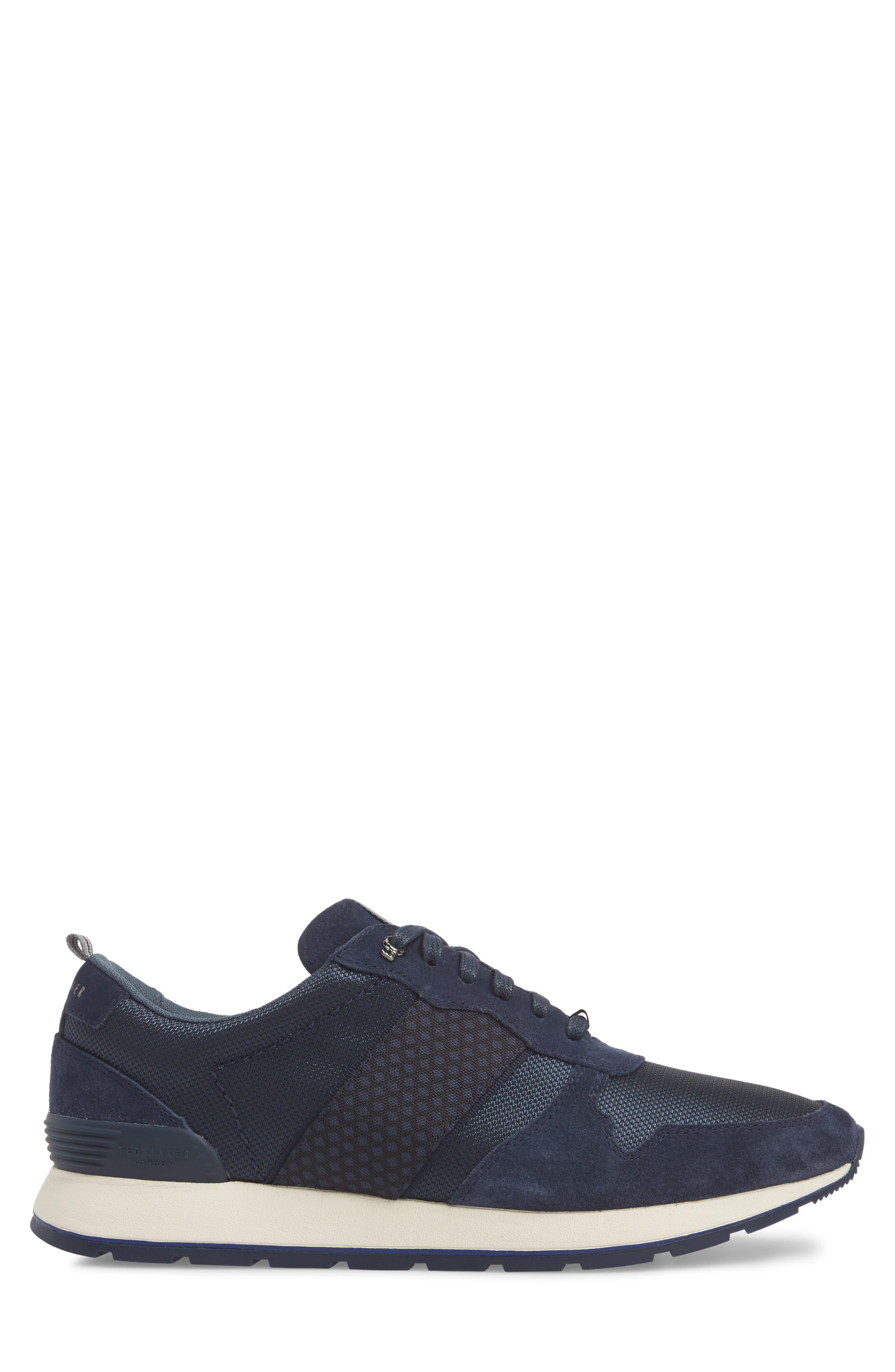 Hebey Lace-Up Sneaker,                             Alternate thumbnail 3, color,                             DARK BLUE TEXTILE