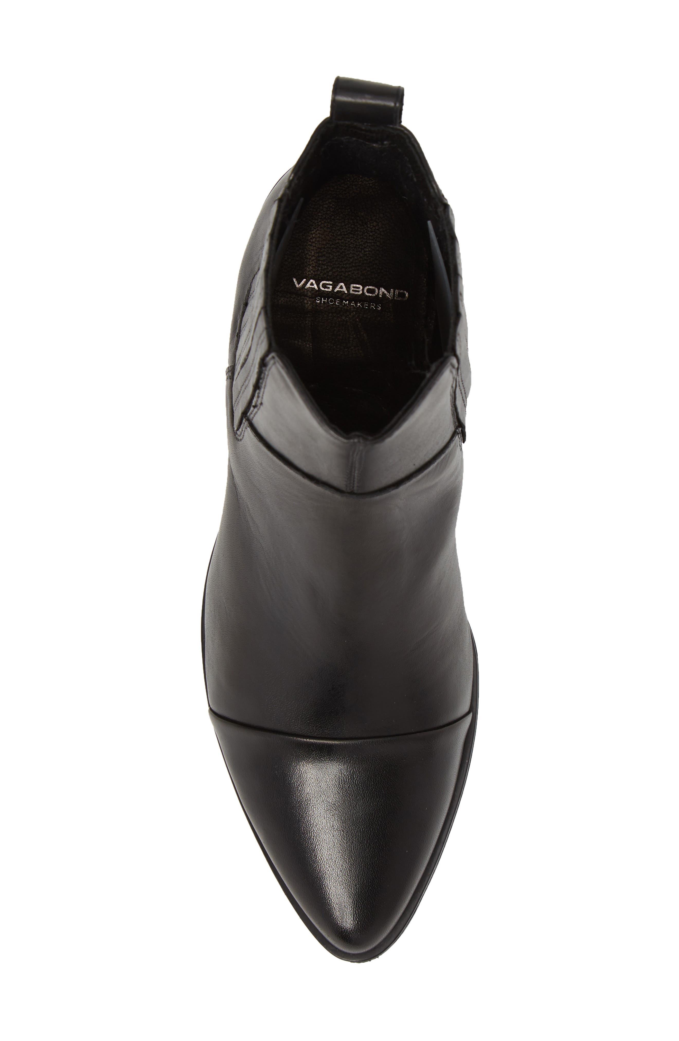 VAGABOND,                             Shoemakers Marja Cap Toe Bootie,                             Alternate thumbnail 5, color,                             BLACK LEATHER