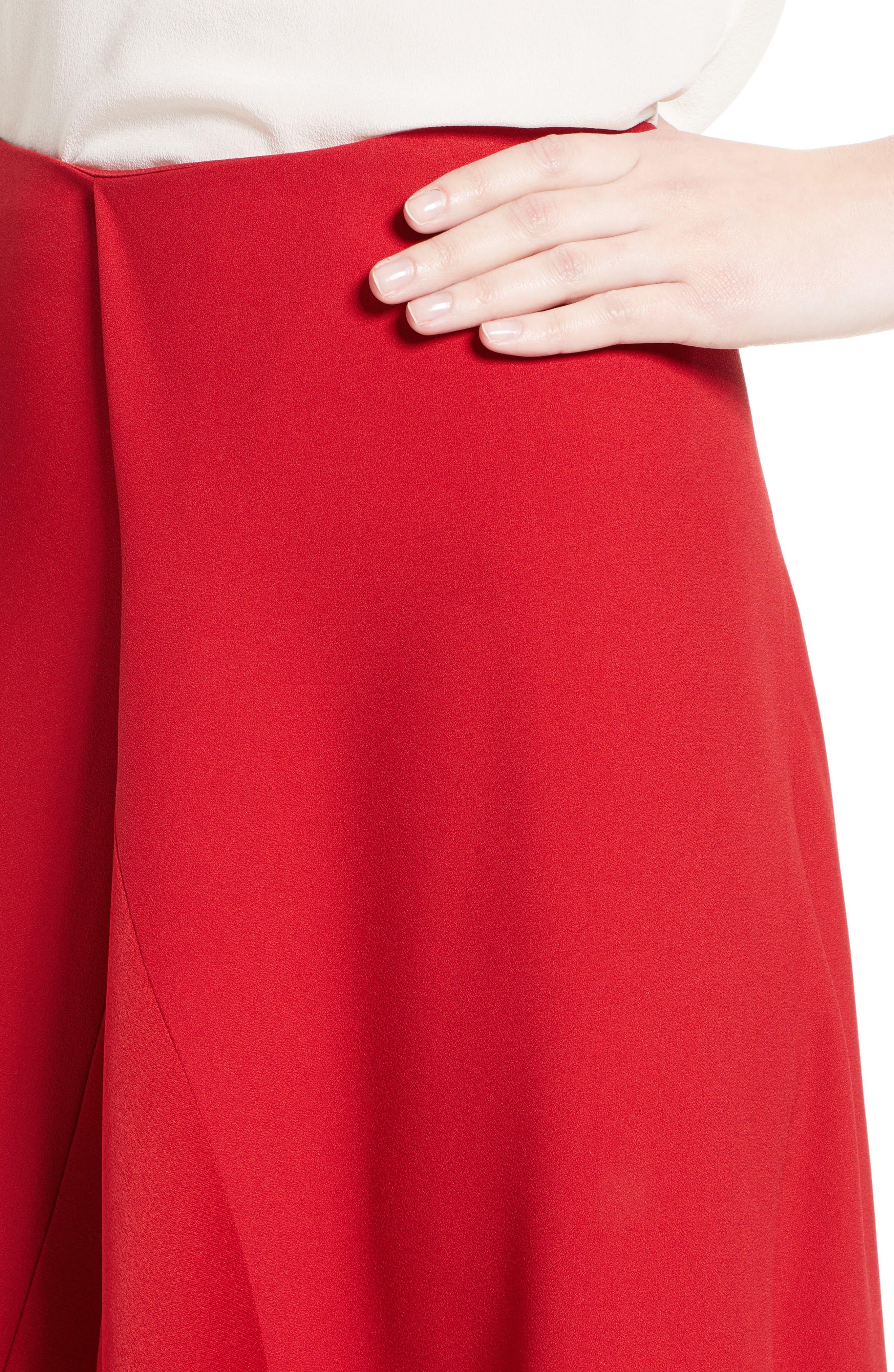 Satin Crepe Godet Skirt,                             Alternate thumbnail 4, color,                             600