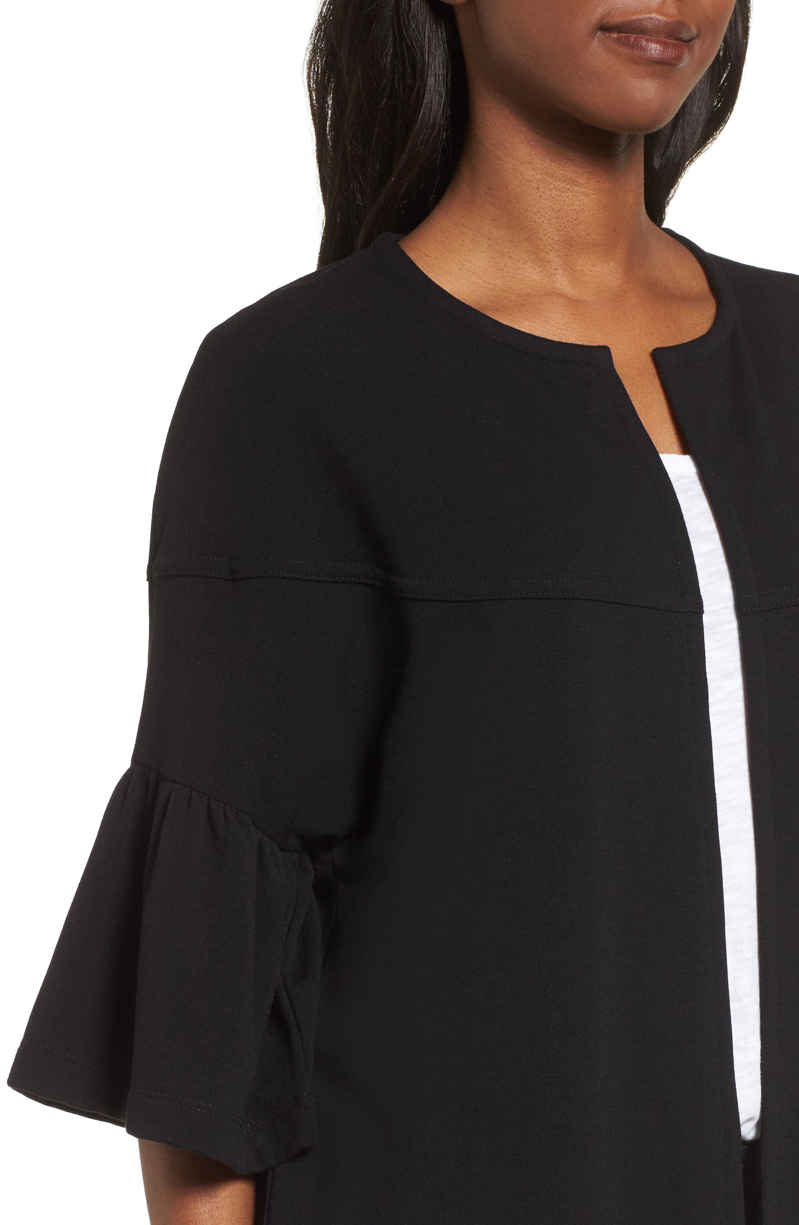 Bell Sleeve French Terry Jacket,                             Alternate thumbnail 4, color,                             BLACK