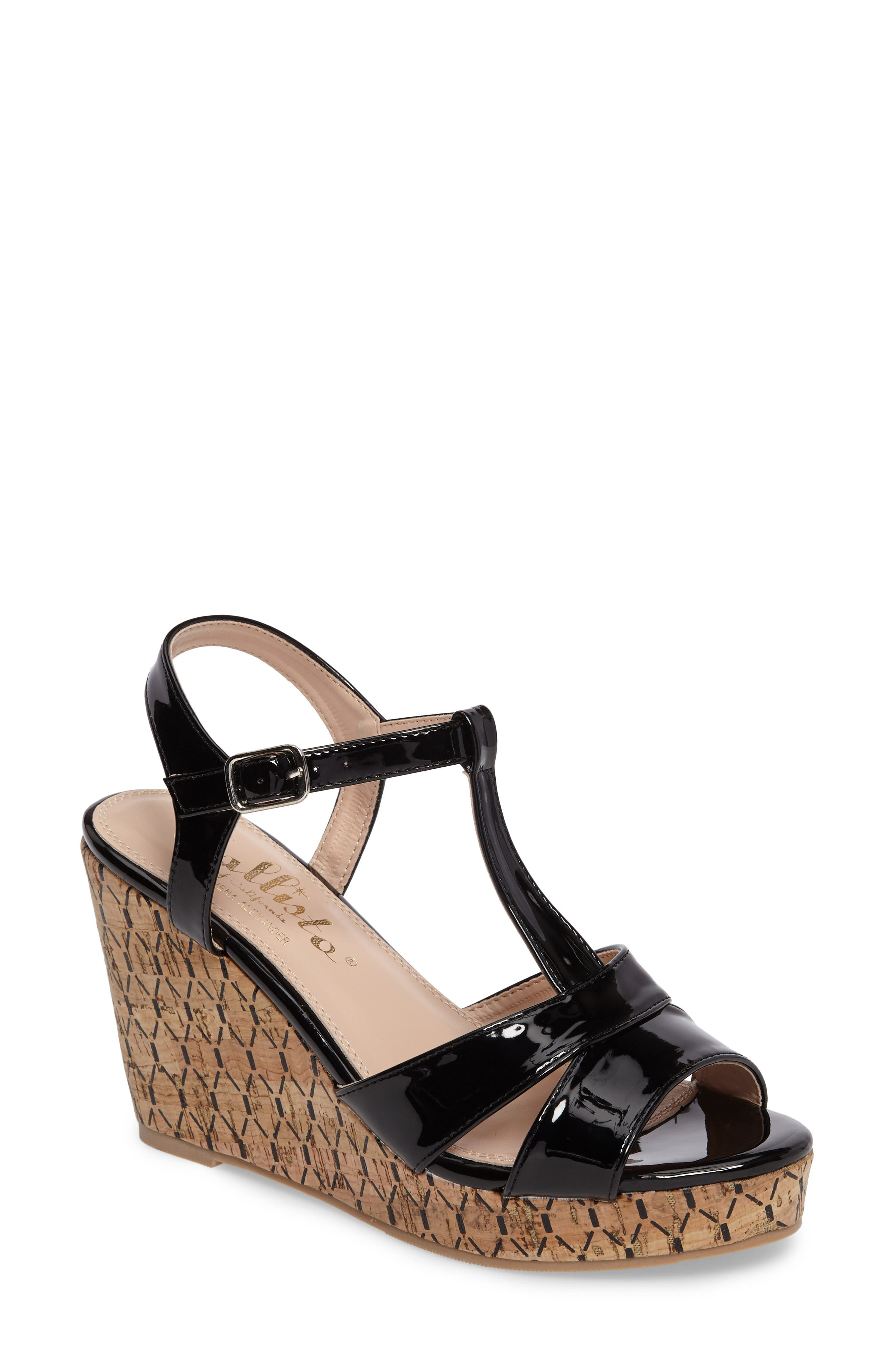 Teluride Platform Wedge Sandal,                         Main,                         color, BLACK SYNTHETIC PATENT