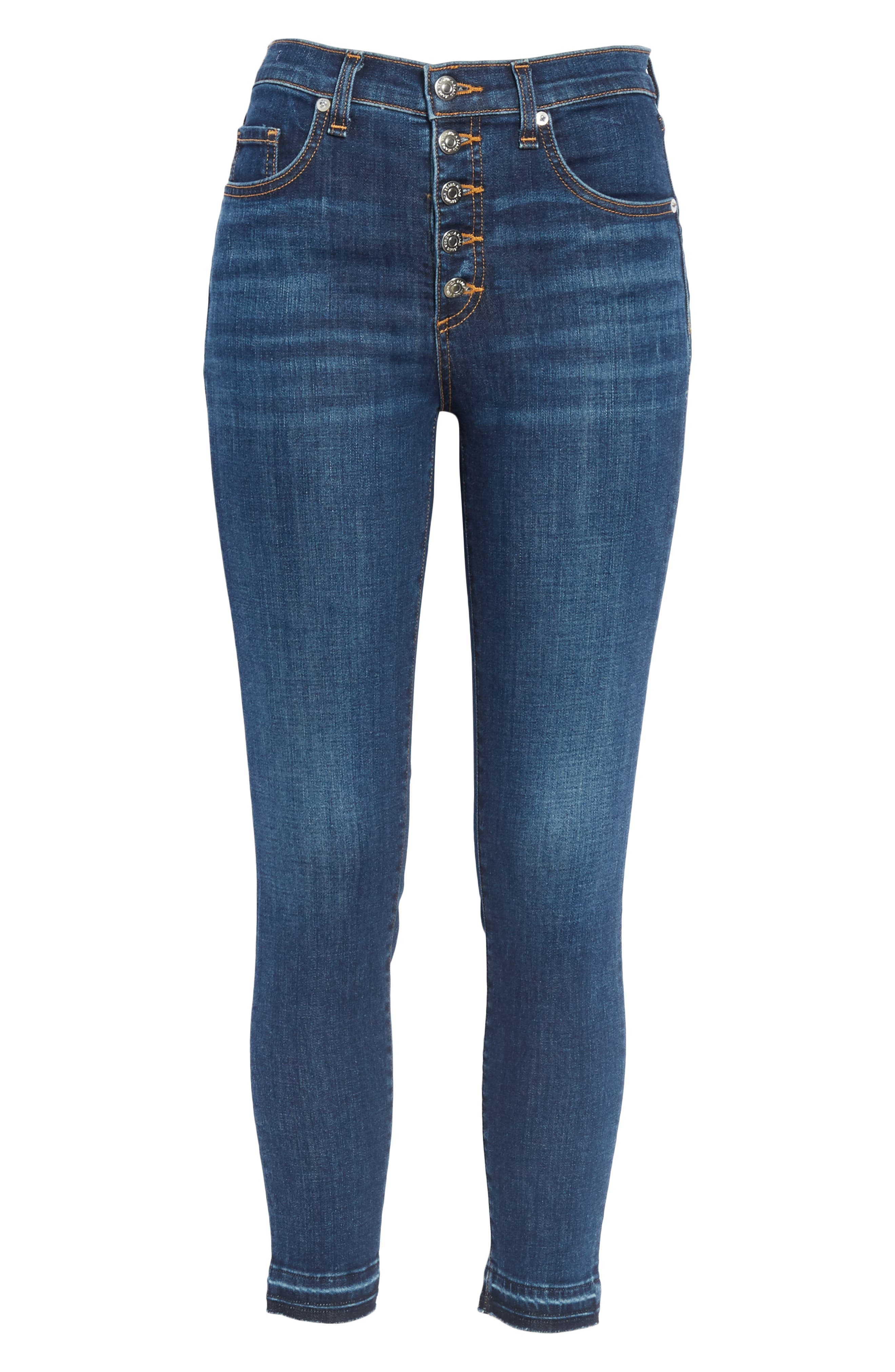 Debbie Frayed Crop Skinny Jeans,                             Alternate thumbnail 6, color,                             BRIGHT BLUE