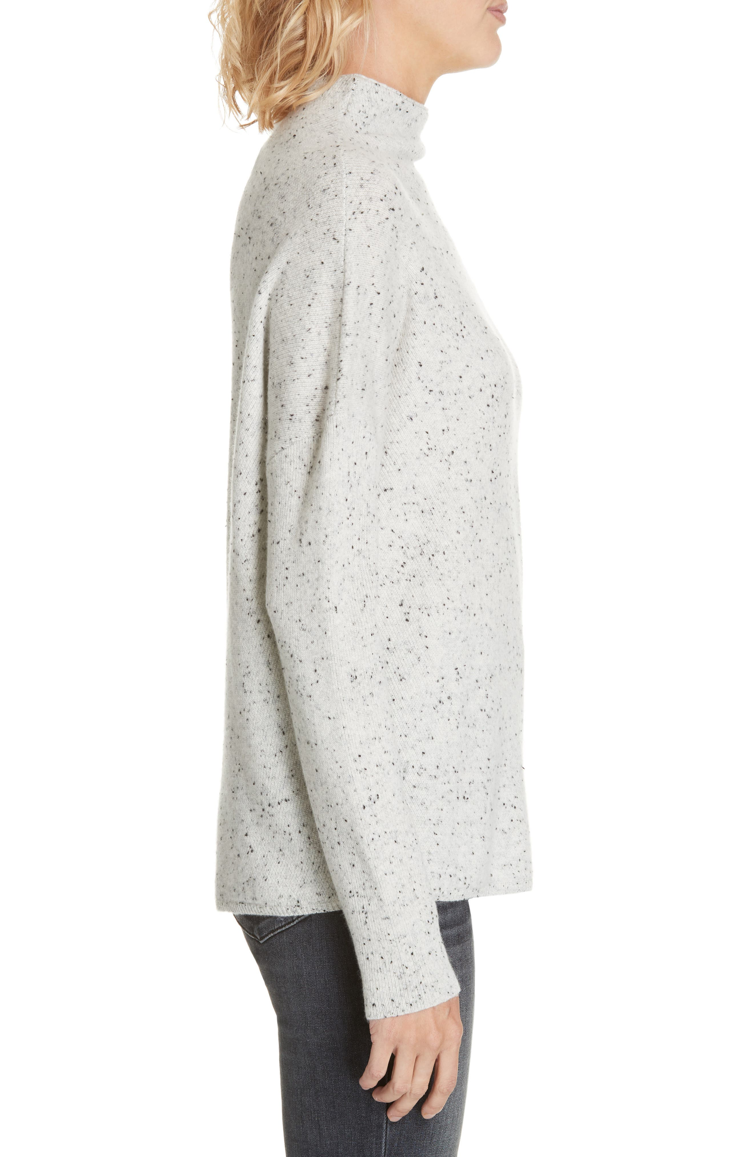 Cashmere Directional Rib Mock Neck Sweater,                             Alternate thumbnail 3, color,                             050