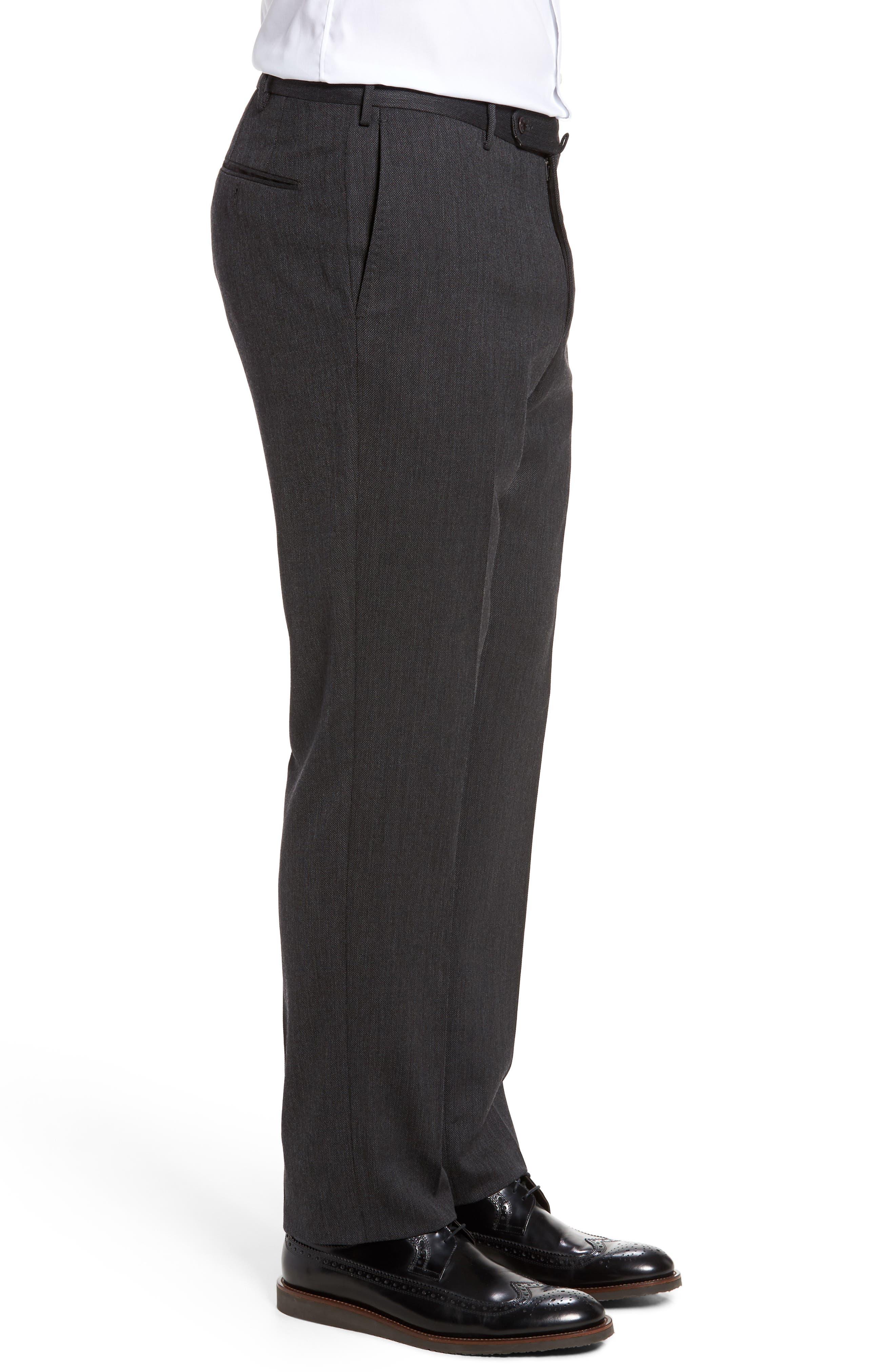 Benson Flat Front Wool Blend Trousers,                             Alternate thumbnail 4, color,                             025
