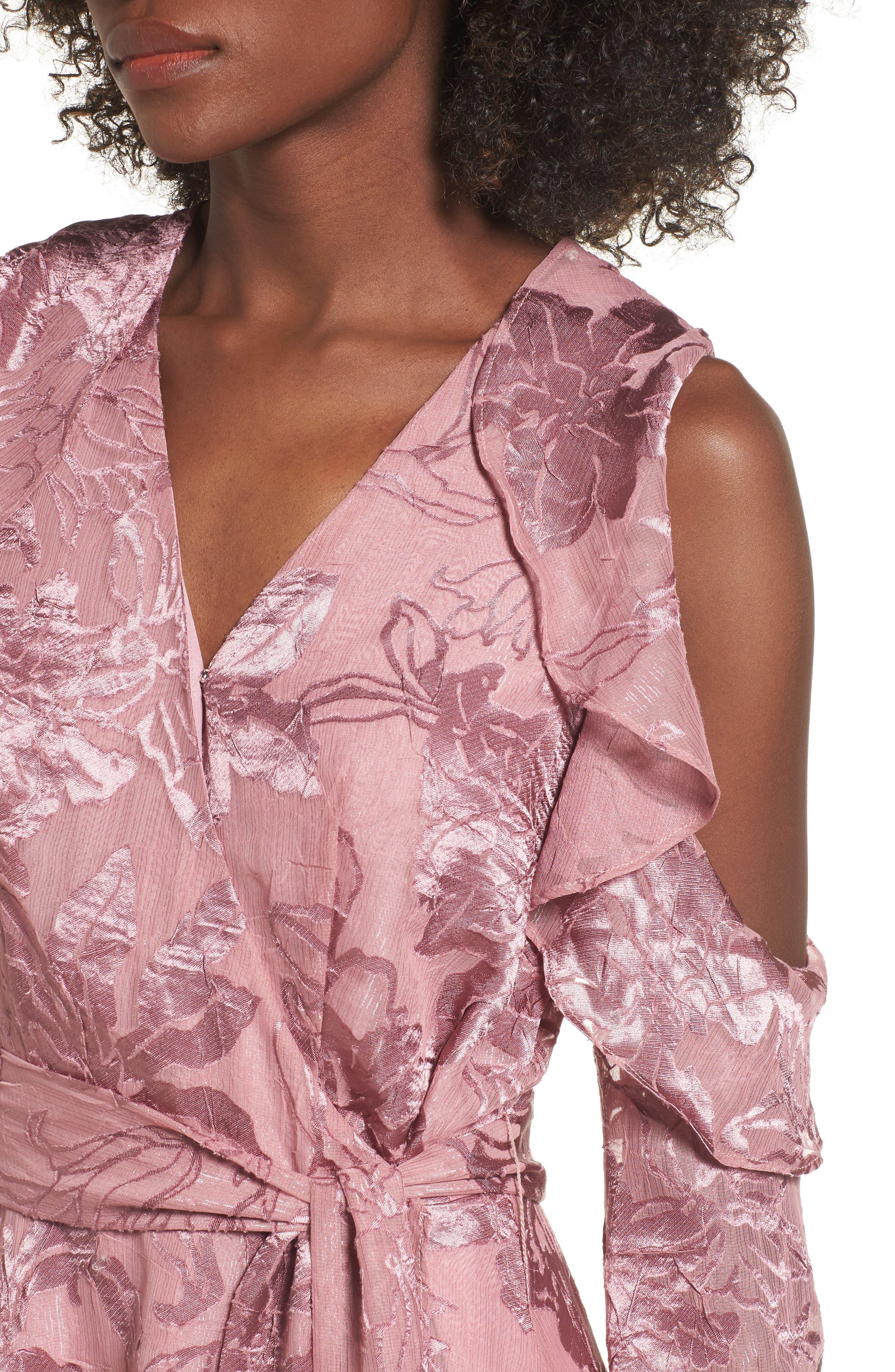 Libra Cold Shoulder Wrap Dress,                             Alternate thumbnail 4, color,