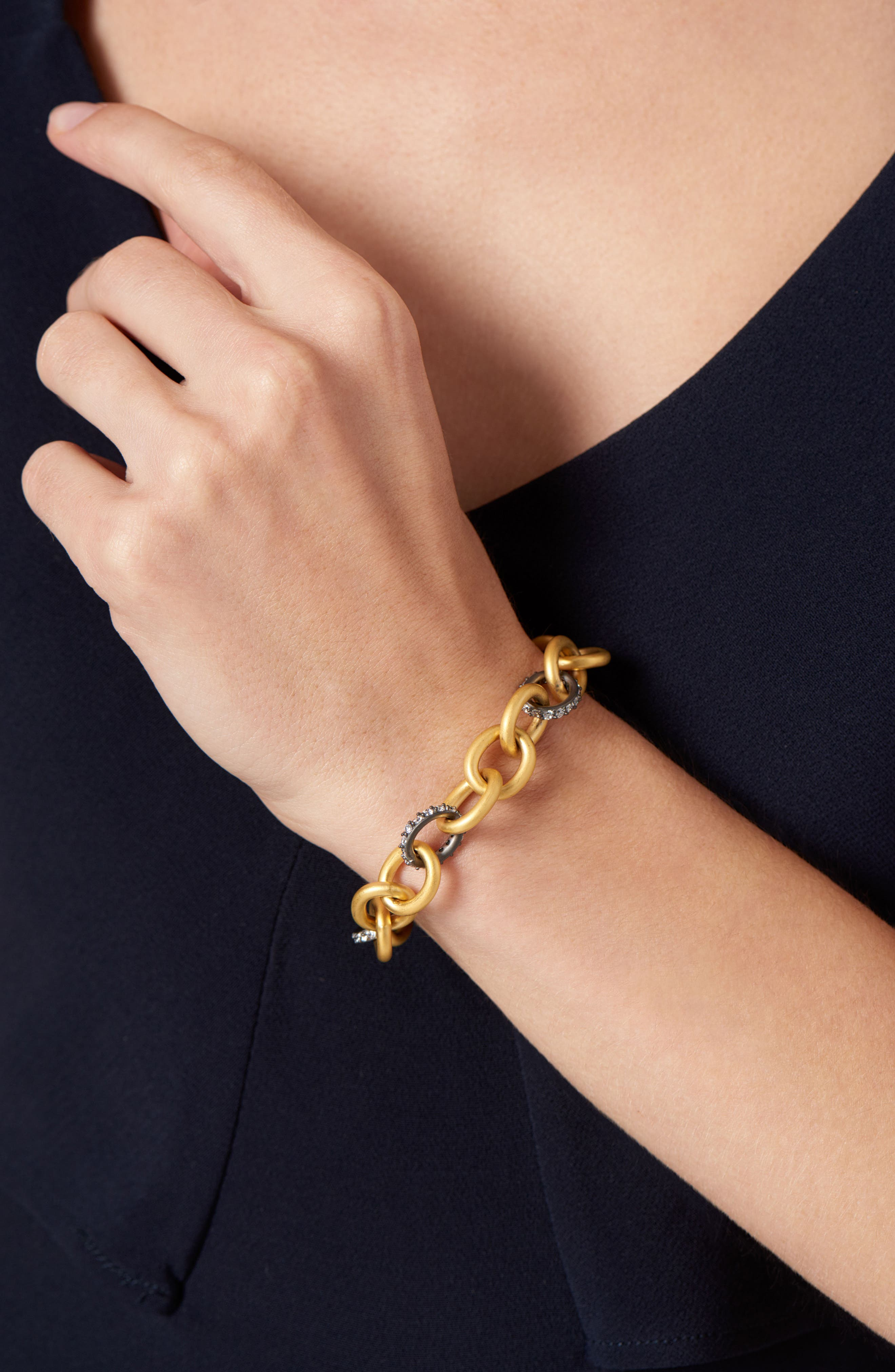 Signature Heavy Link Bracelet,                             Alternate thumbnail 2, color,                             GOLD/ BLACK