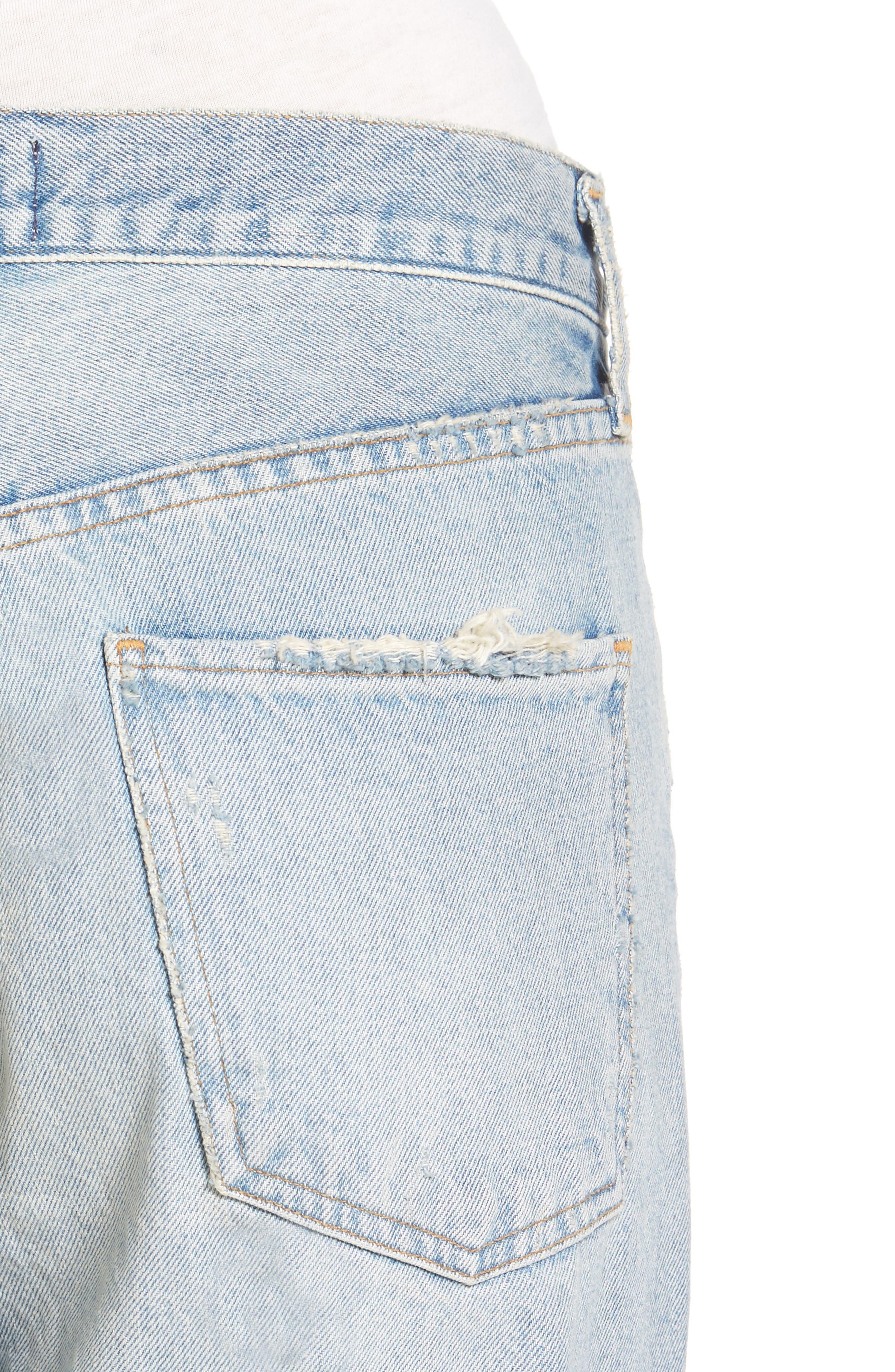 Ripped High Waist Straight Leg Jeans,                             Alternate thumbnail 4, color,                             457