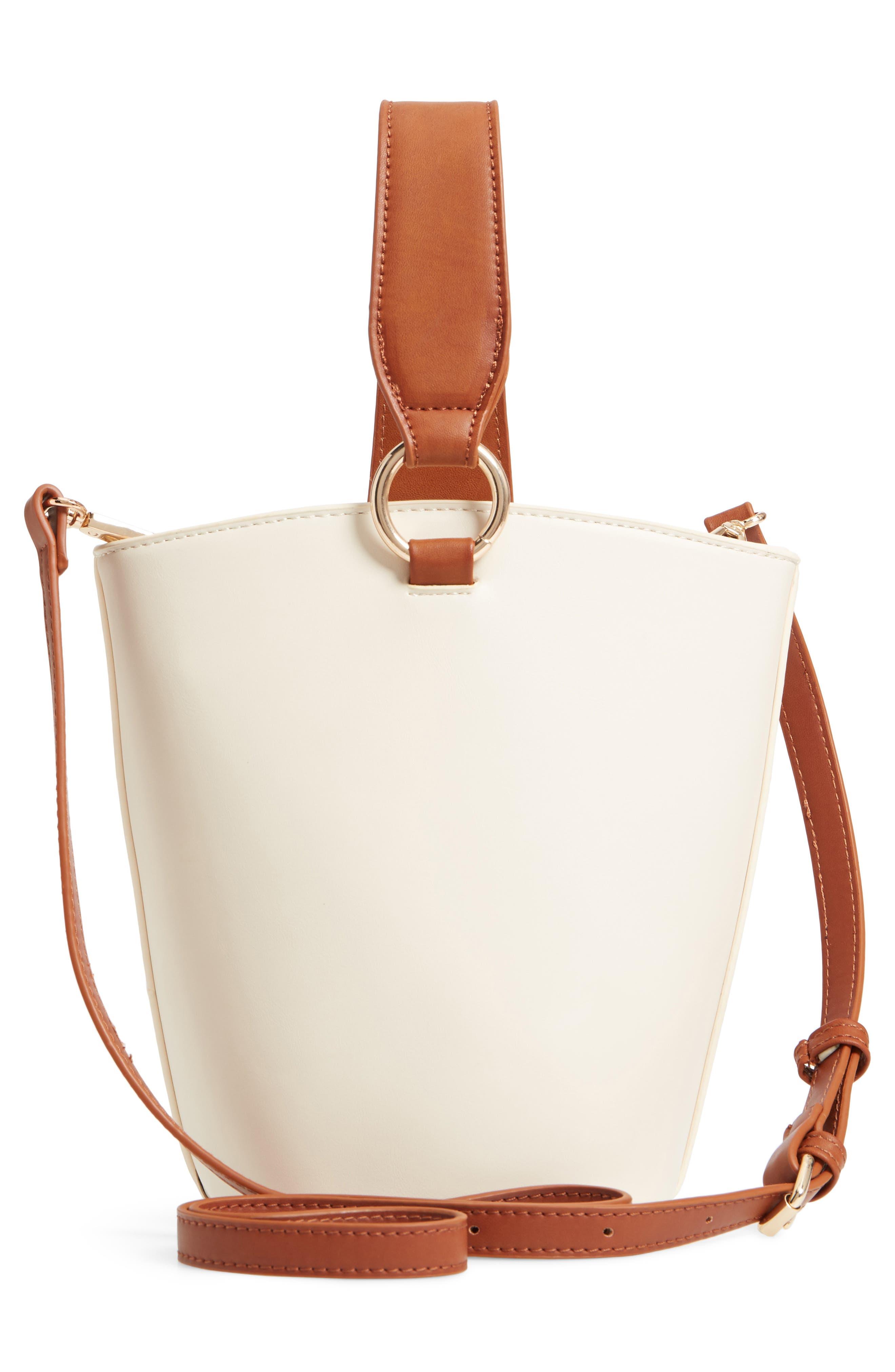 Top Handle Bucket Bag,                             Alternate thumbnail 3, color,                             IVORY