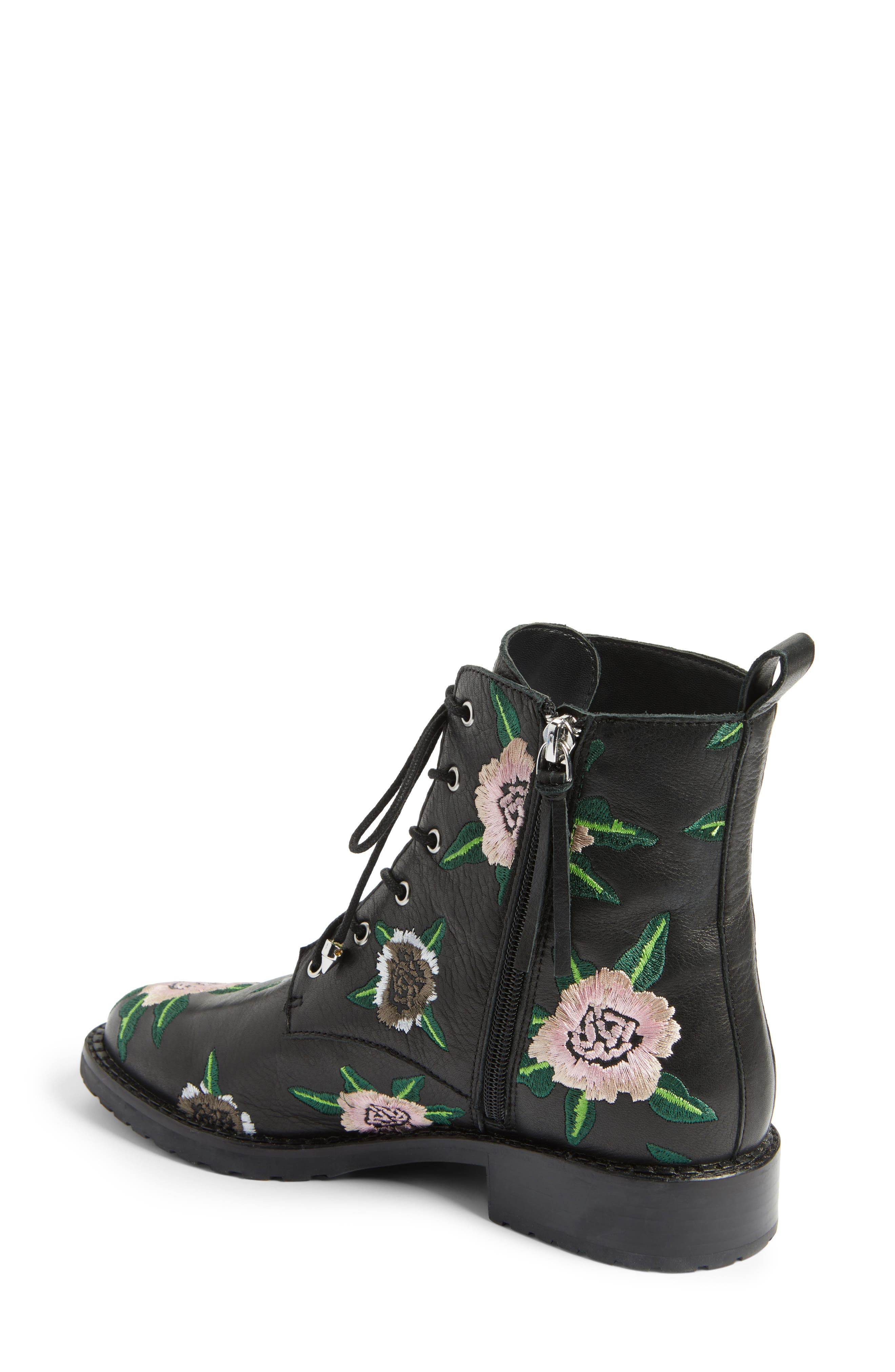 Gerry Embroidered Lace-Up Boot,                             Alternate thumbnail 2, color,                             001