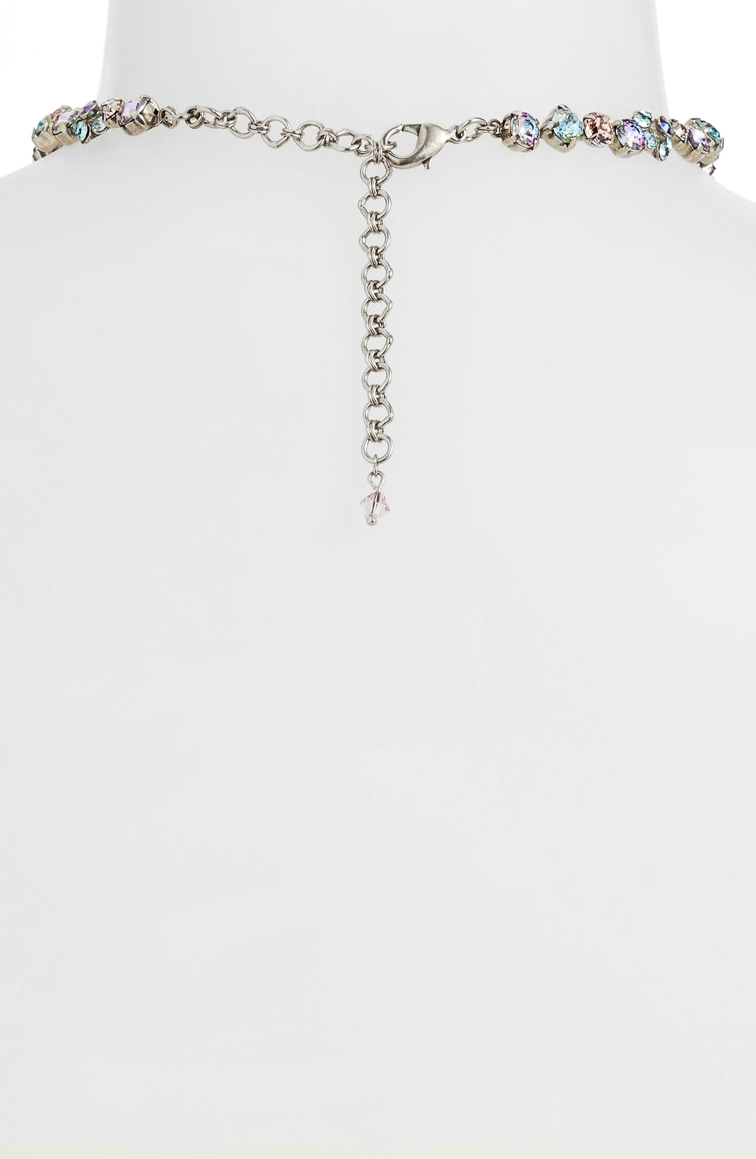 Classic Floral Crystal Necklace,                             Alternate thumbnail 3, color,                             PURPLE