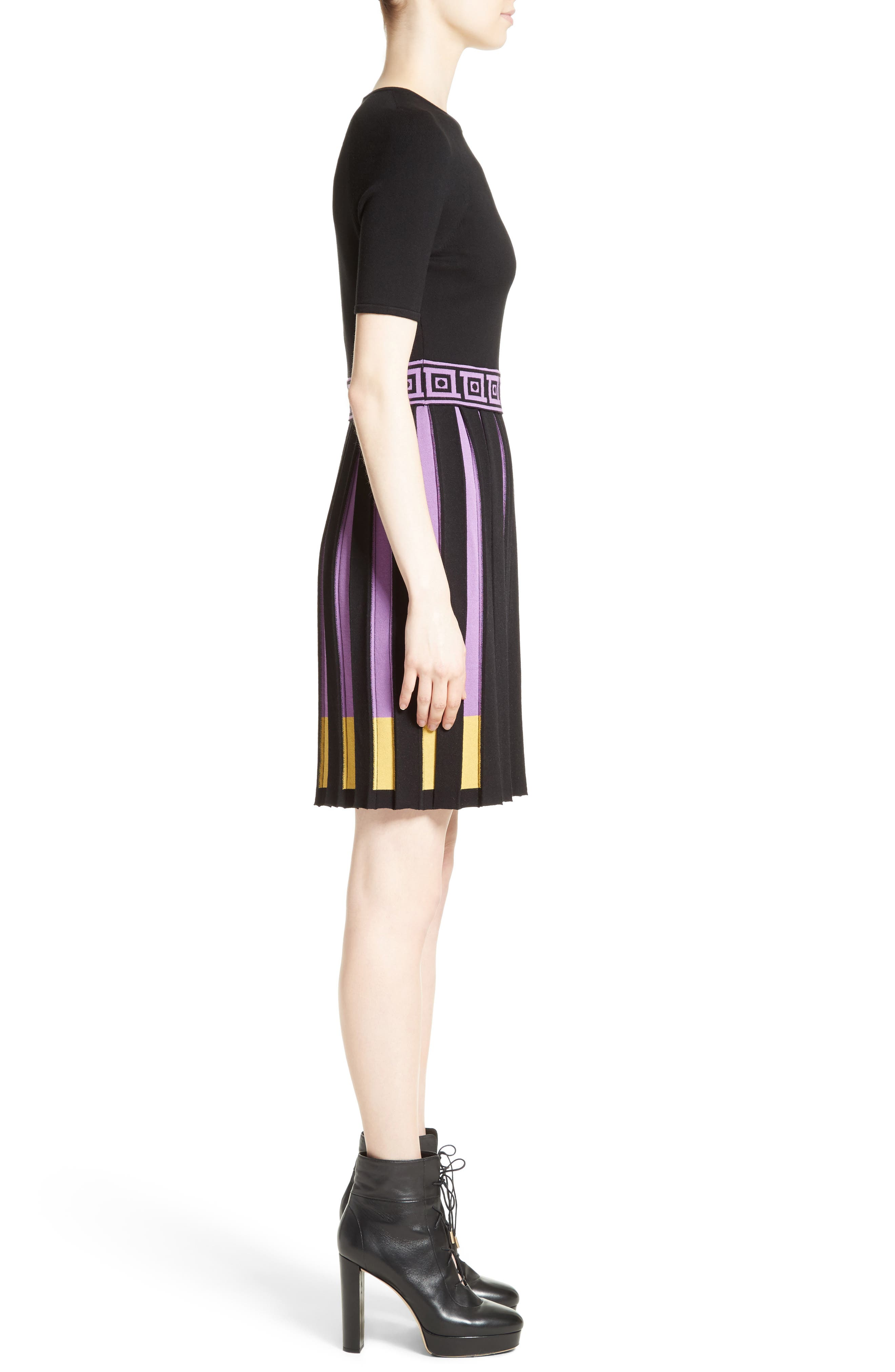 Knit Fit & Flare Dress,                             Alternate thumbnail 3, color,                             009