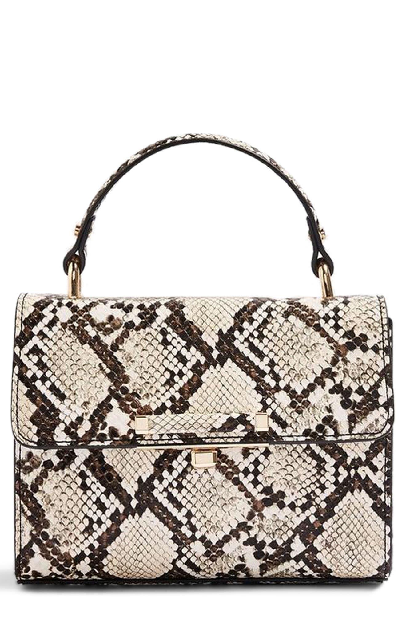 Mini Marissa Snake Embossed Top Handle Bag, Main, color, 250