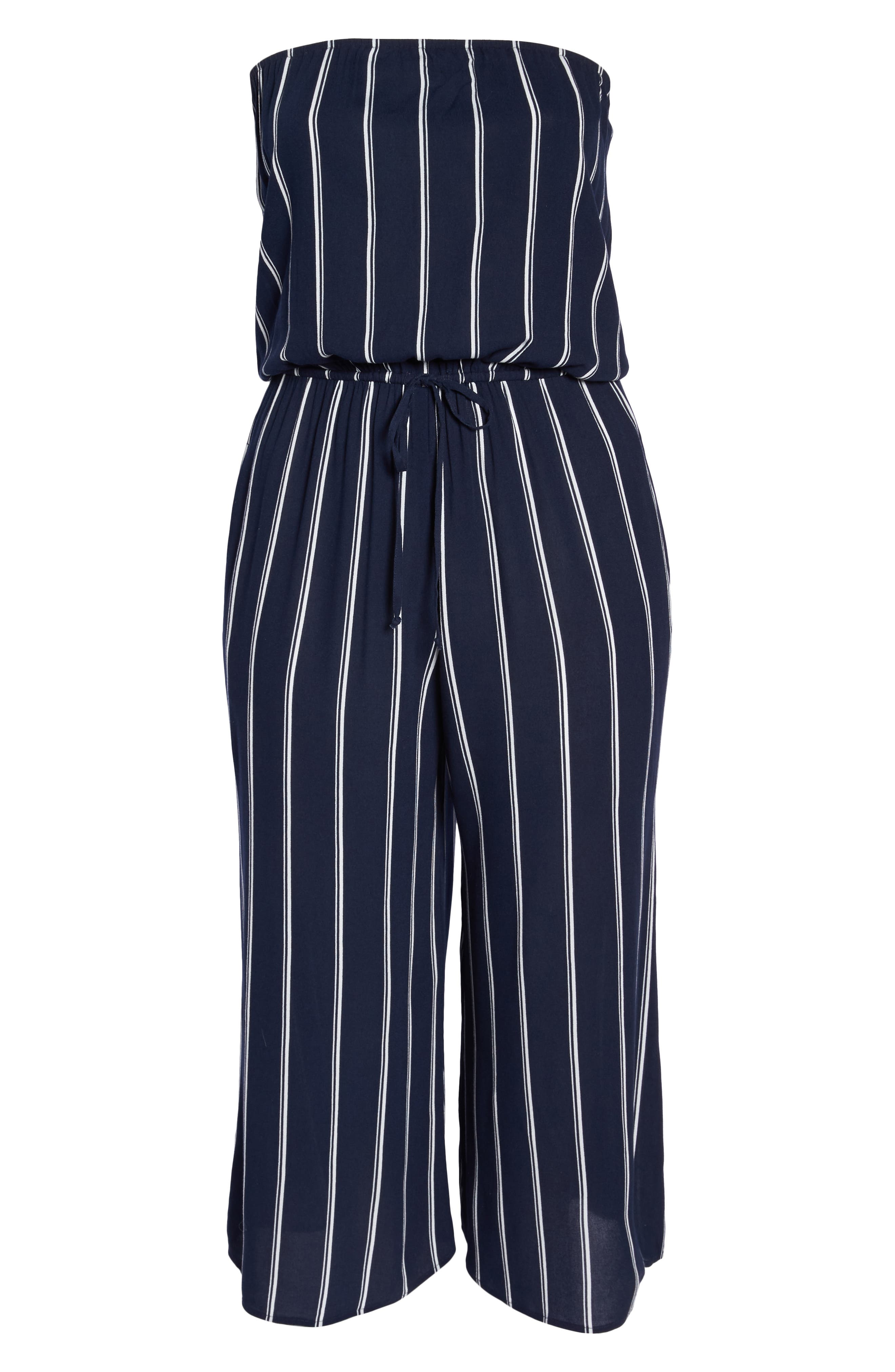 Strapless Cover-Up Jumpsuit,                             Alternate thumbnail 6, color,                             NAVY/ WHITE