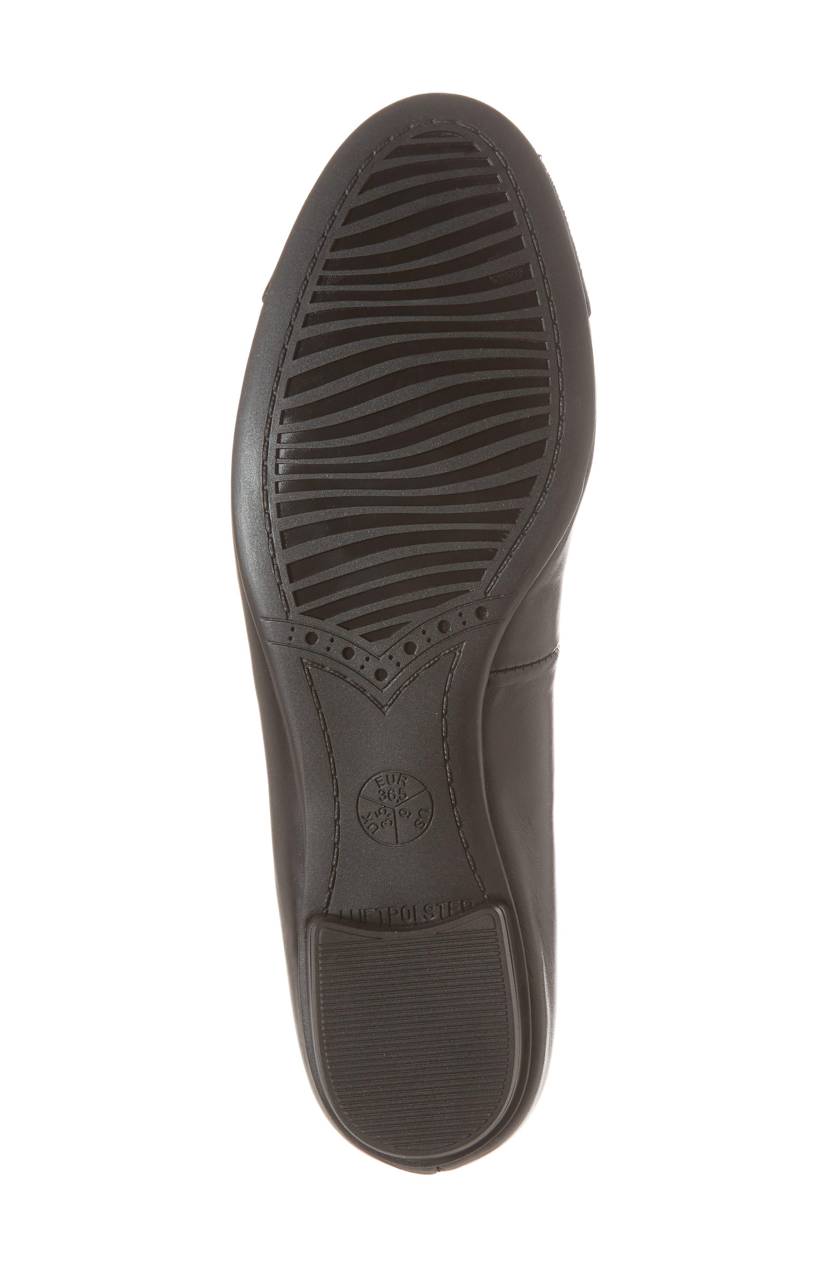 'Betty' Cap Toe Flat,                             Alternate thumbnail 6, color,                             BLACK/ BLACK LEATHER