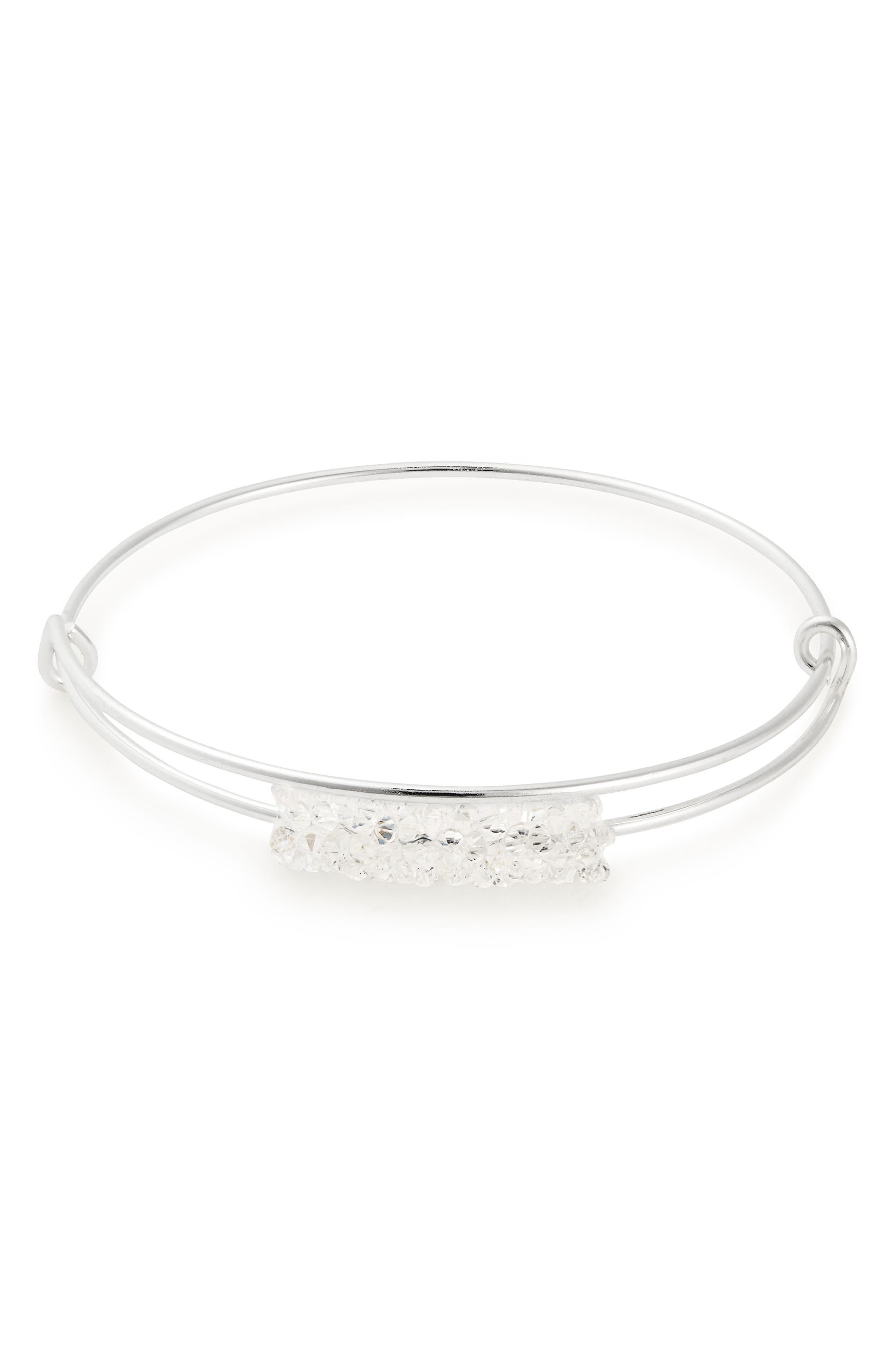 ALEX AND ANI Fine Rocks Adjustable Wire Bangle in Silver