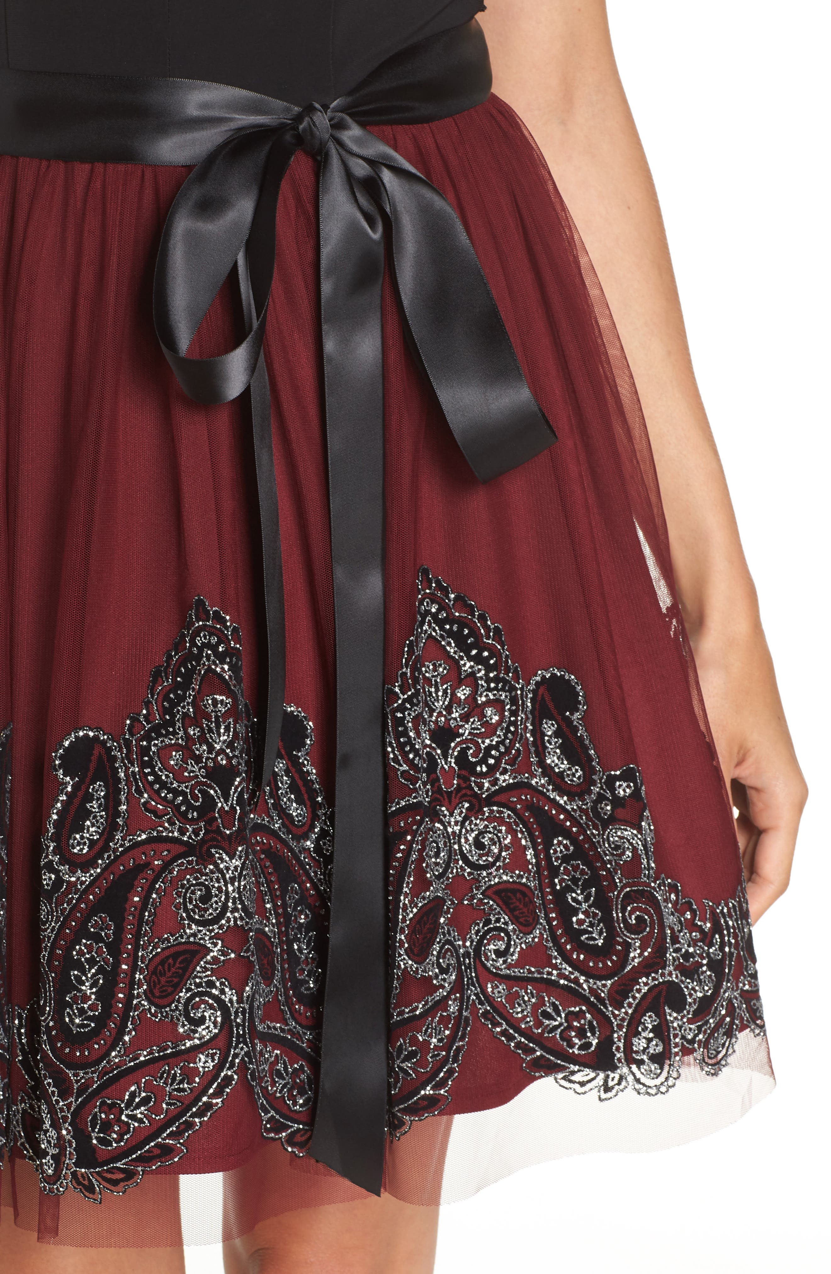 Embroidered Fit & Flare Dress,                             Alternate thumbnail 4, color,                             BLACK/ WINE