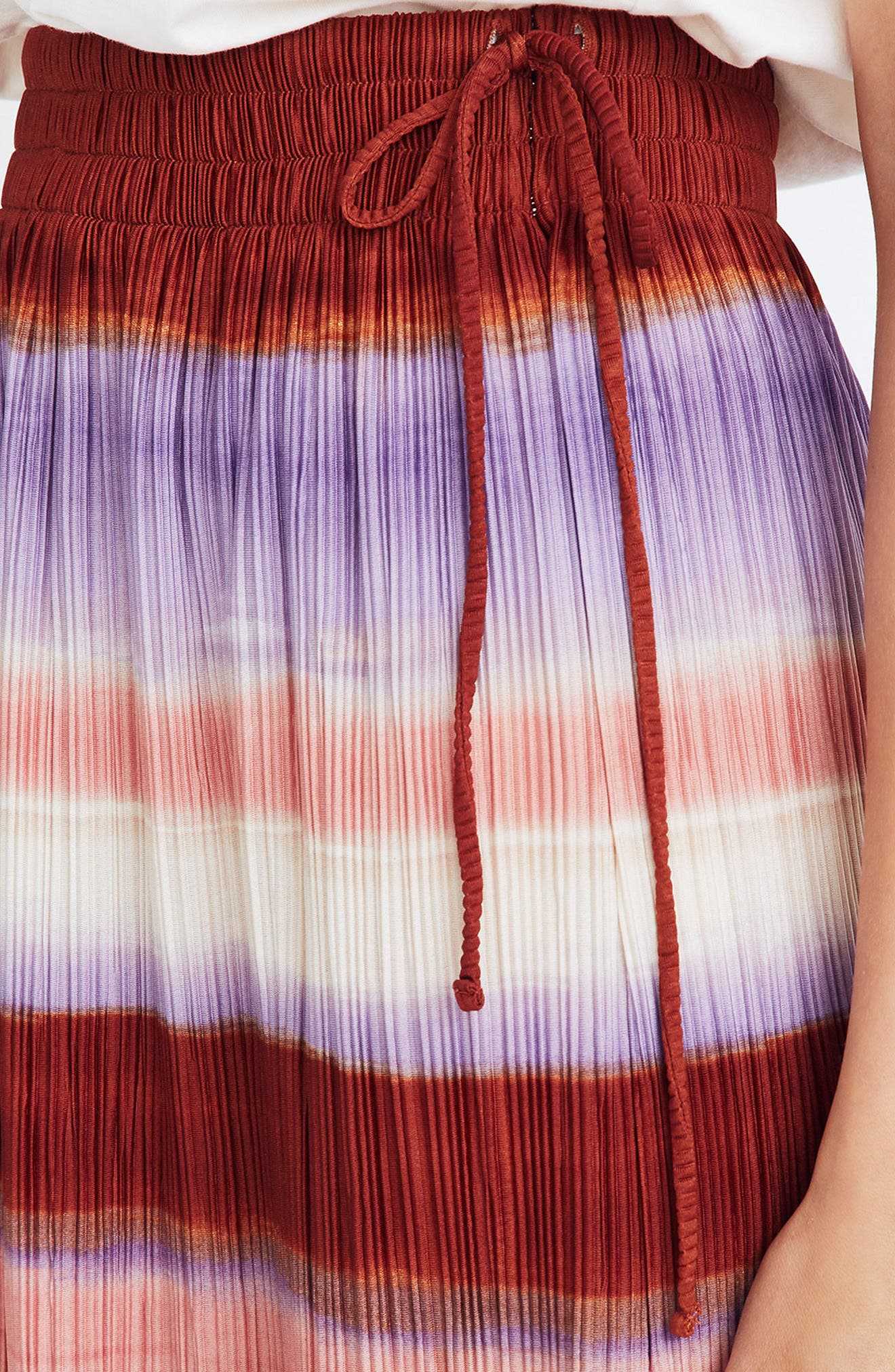 Texture & Thread Ombré Rainbow Micropleat Midi Skirt,                             Alternate thumbnail 3, color,                             CLEMENTINE CREAM