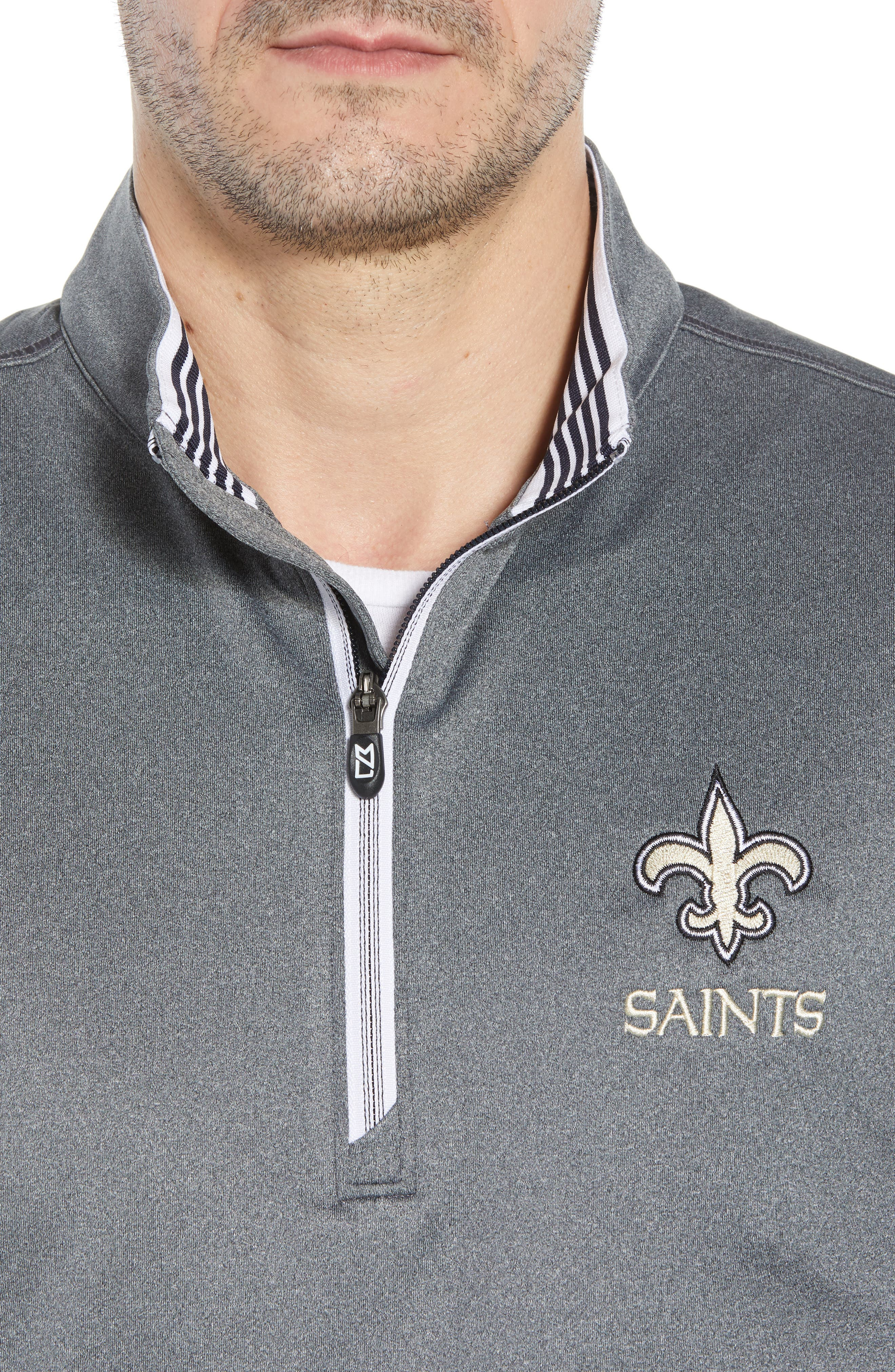 Endurance New Orleans Saints Regular Fit Pullover,                             Alternate thumbnail 4, color,                             CHARCOAL HEATHER