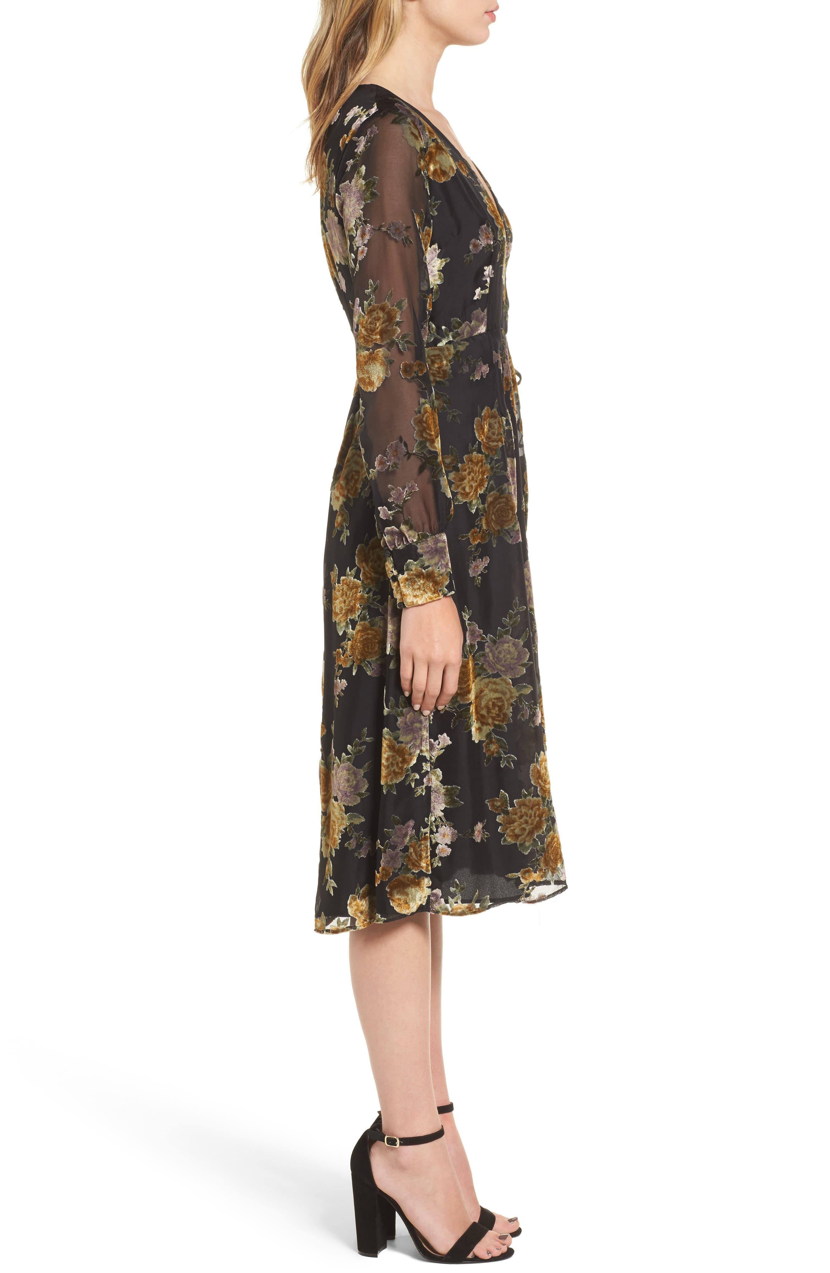 Sonya Wrap Midi Dress,                             Alternate thumbnail 3, color,                             003