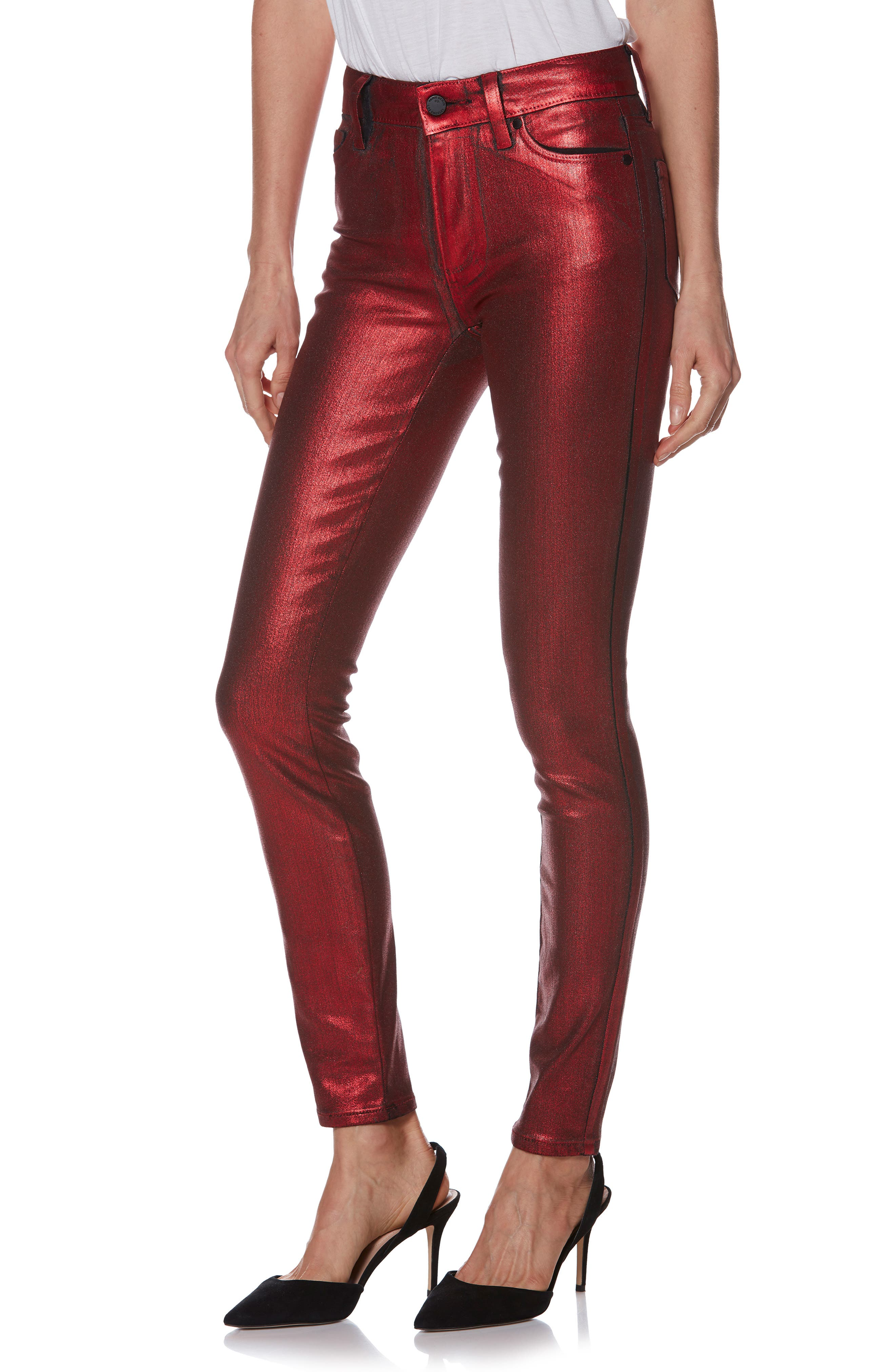 Hoxton High Waist Ultra Skinny Jeans,                         Main,                         color, RED GALAXY COATING
