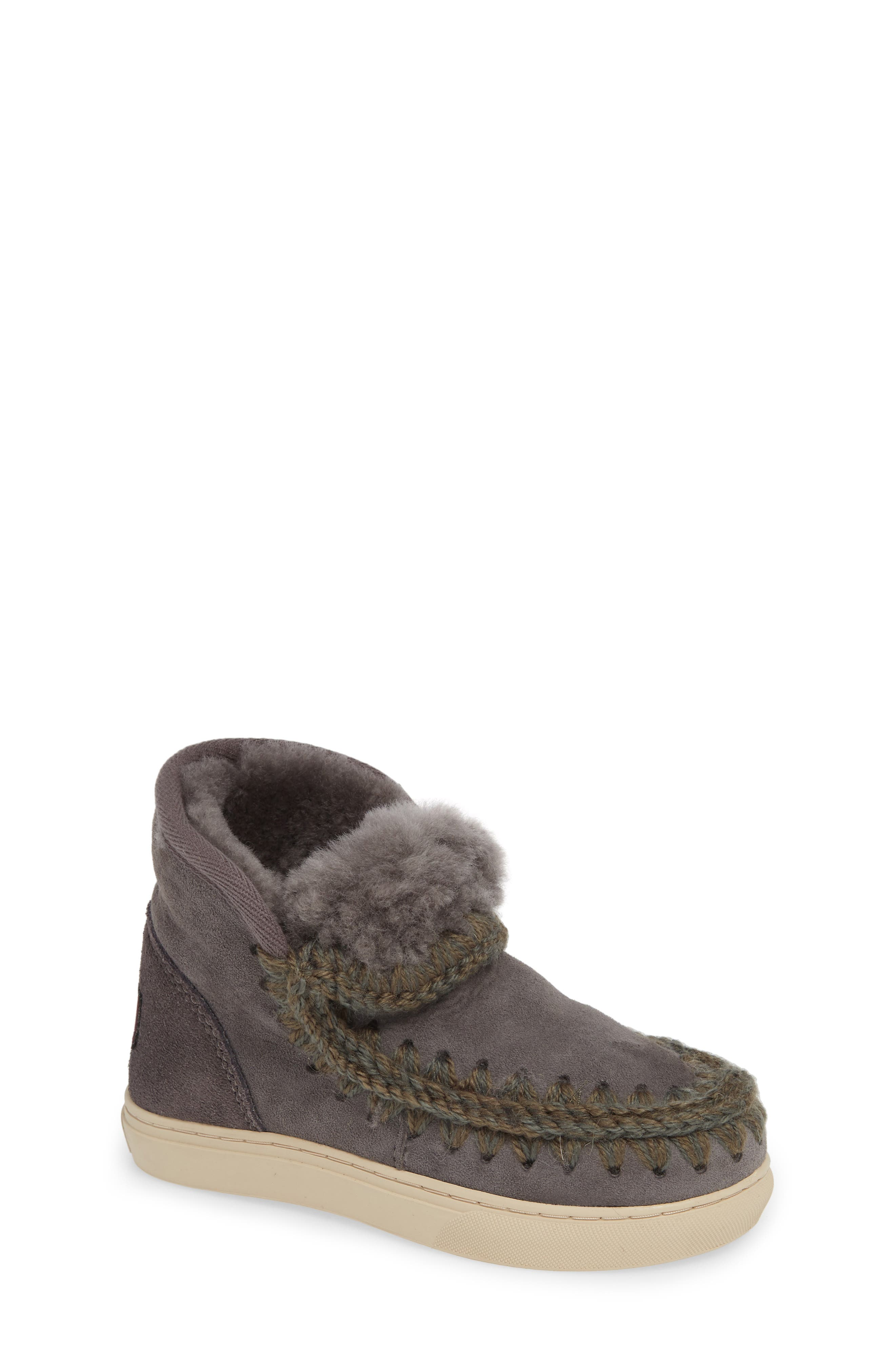 MOU,                             Embellished Genuine Shearling Sneaker Boot,                             Main thumbnail 1, color,                             IRON