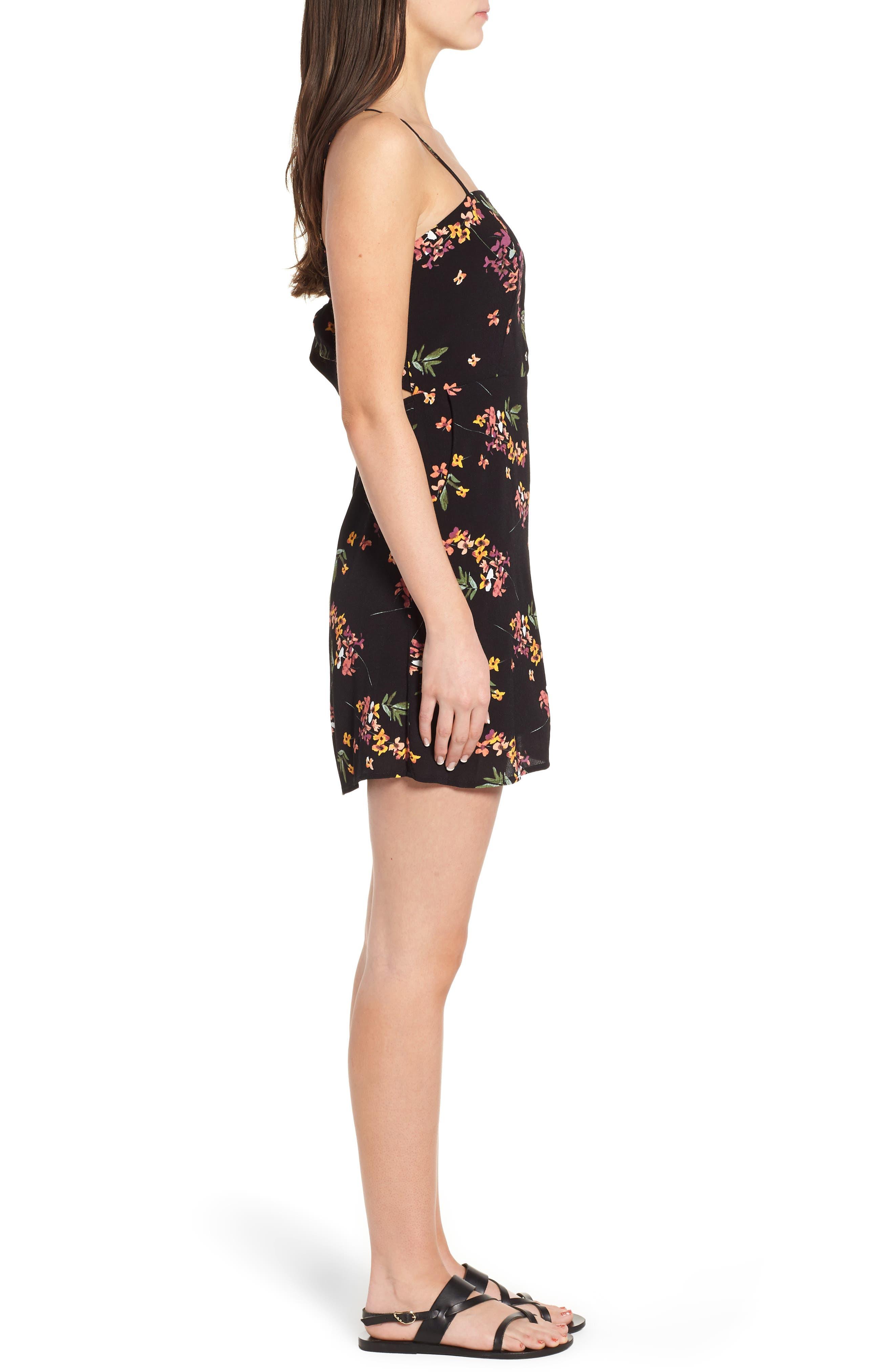 Floral Tie Back Minidress,                             Alternate thumbnail 3, color,                             001