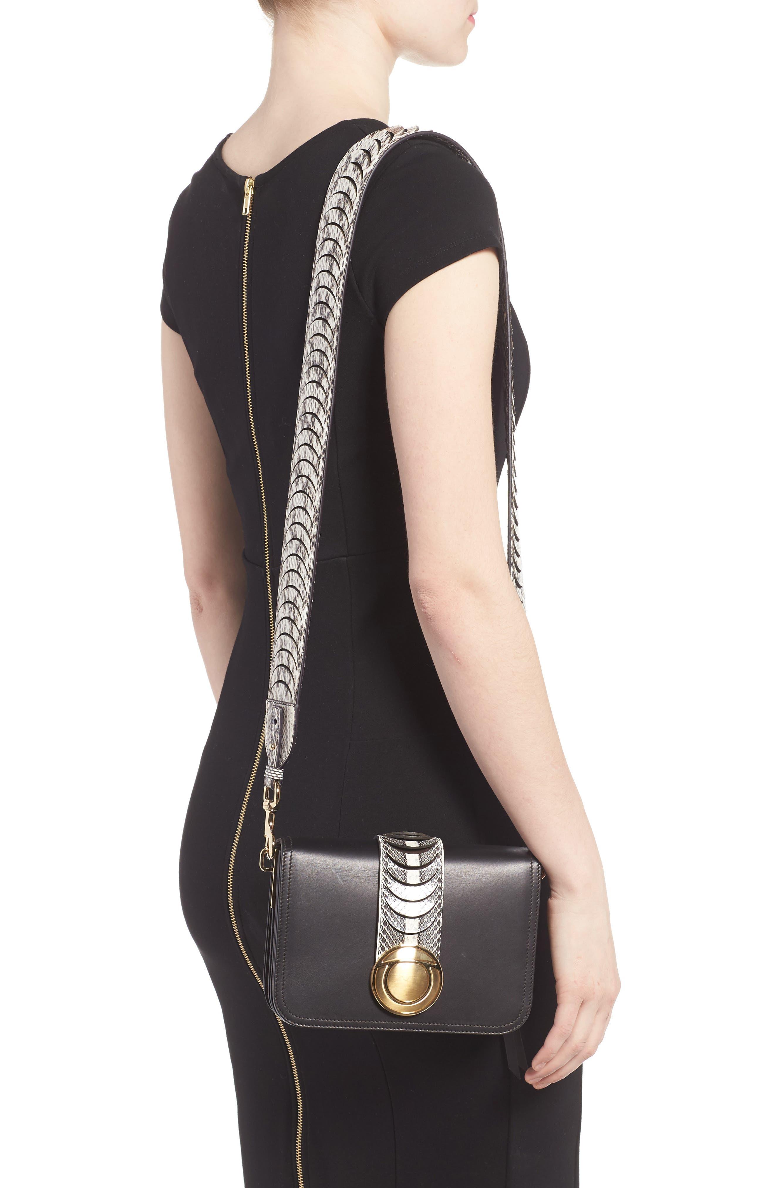 Vittoria Genuine Snakeskin & Leather Crossbody Bag,                             Alternate thumbnail 3, color,                             972