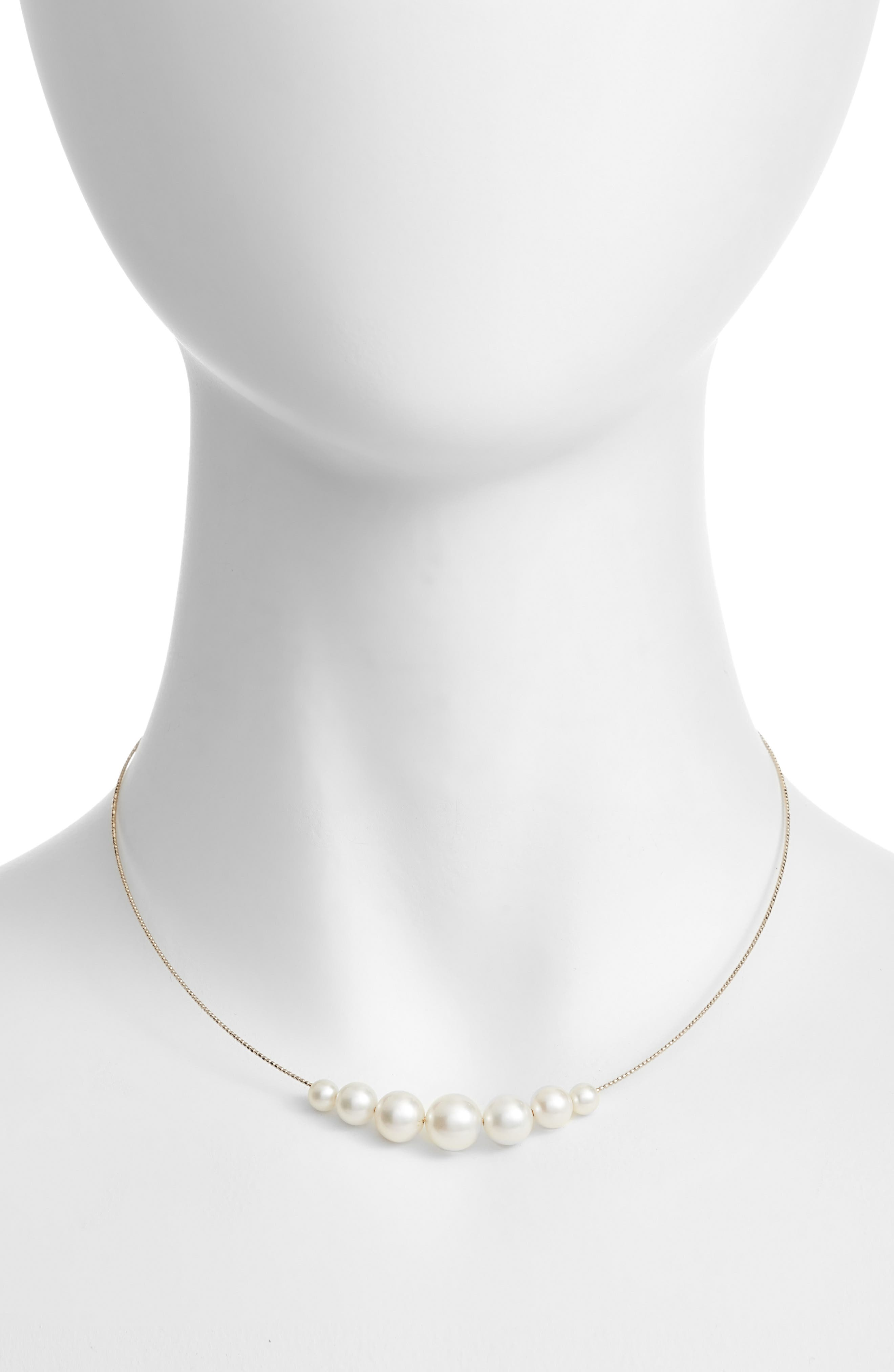 Pearl Choker Necklace,                         Main,                         color, YELLOW GOLD/ WHITE PEARL