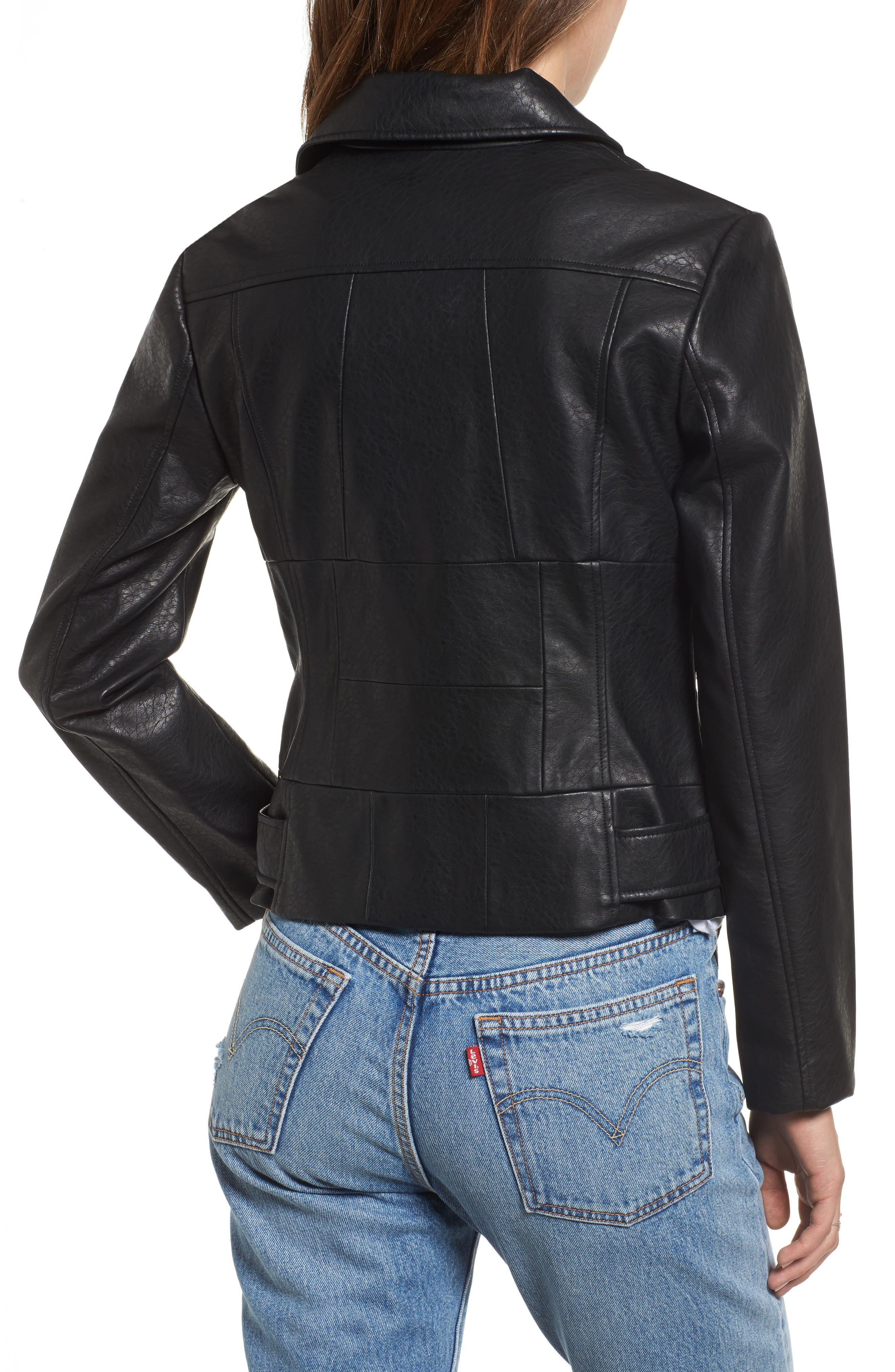 Maria Washed Faux Leather Patchwork Jacket,                             Alternate thumbnail 2, color,                             001