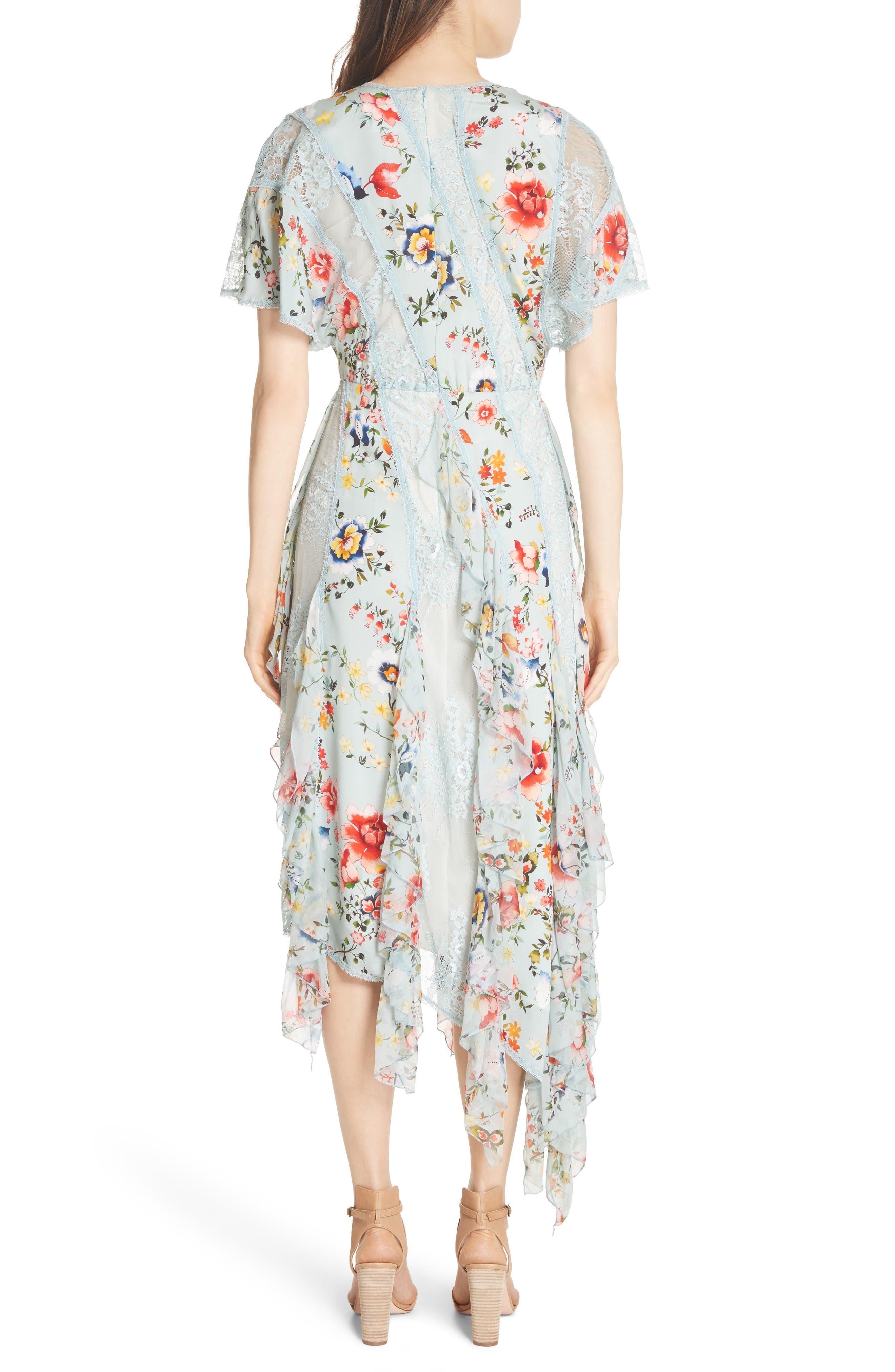 Kadence Ruffled Silk & Lace Midi Dress,                             Alternate thumbnail 2, color,