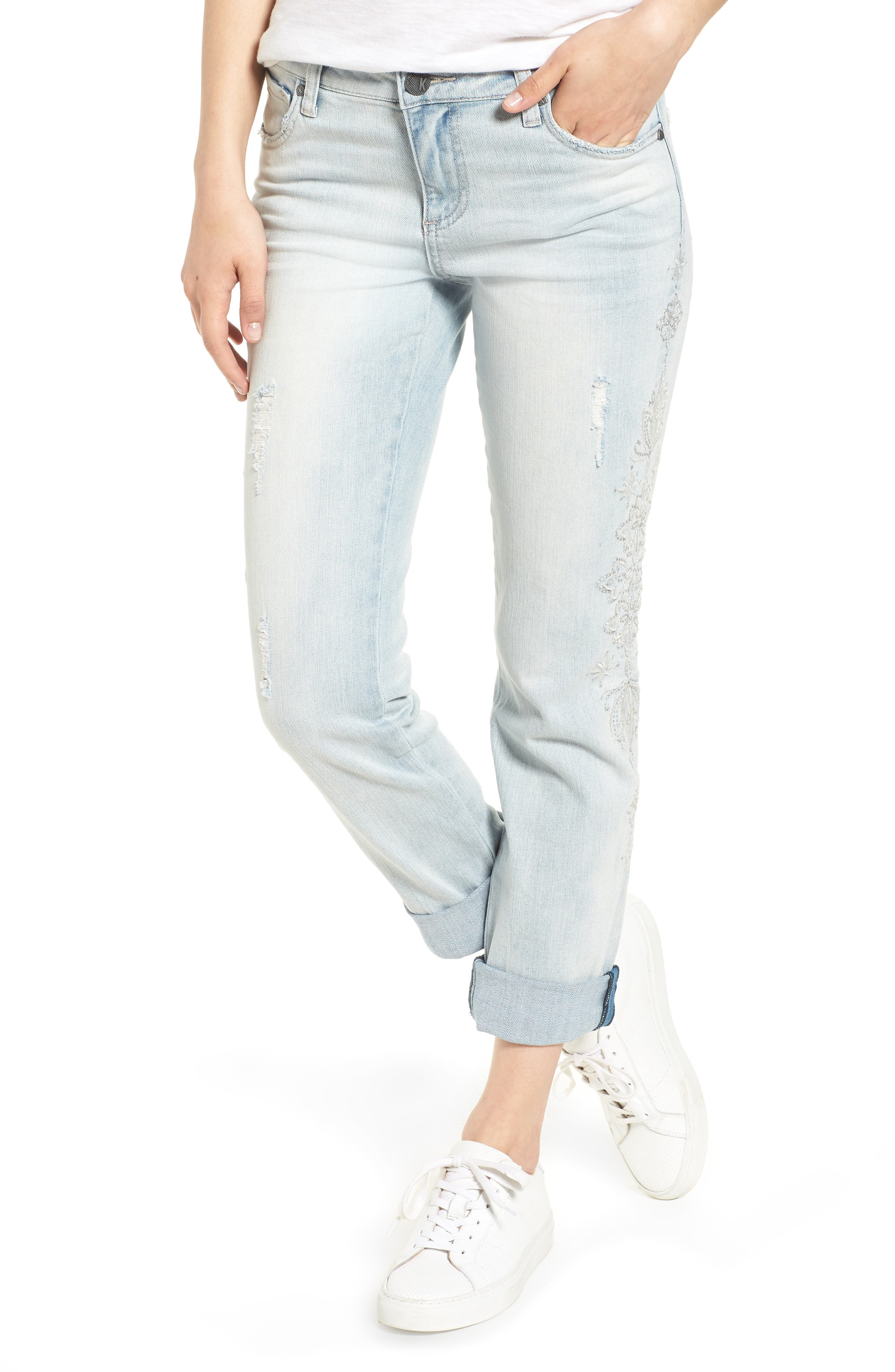 KUT from the Kloth Catherine Embroidered & Ripped Boyfriend Jeans,                         Main,                         color,