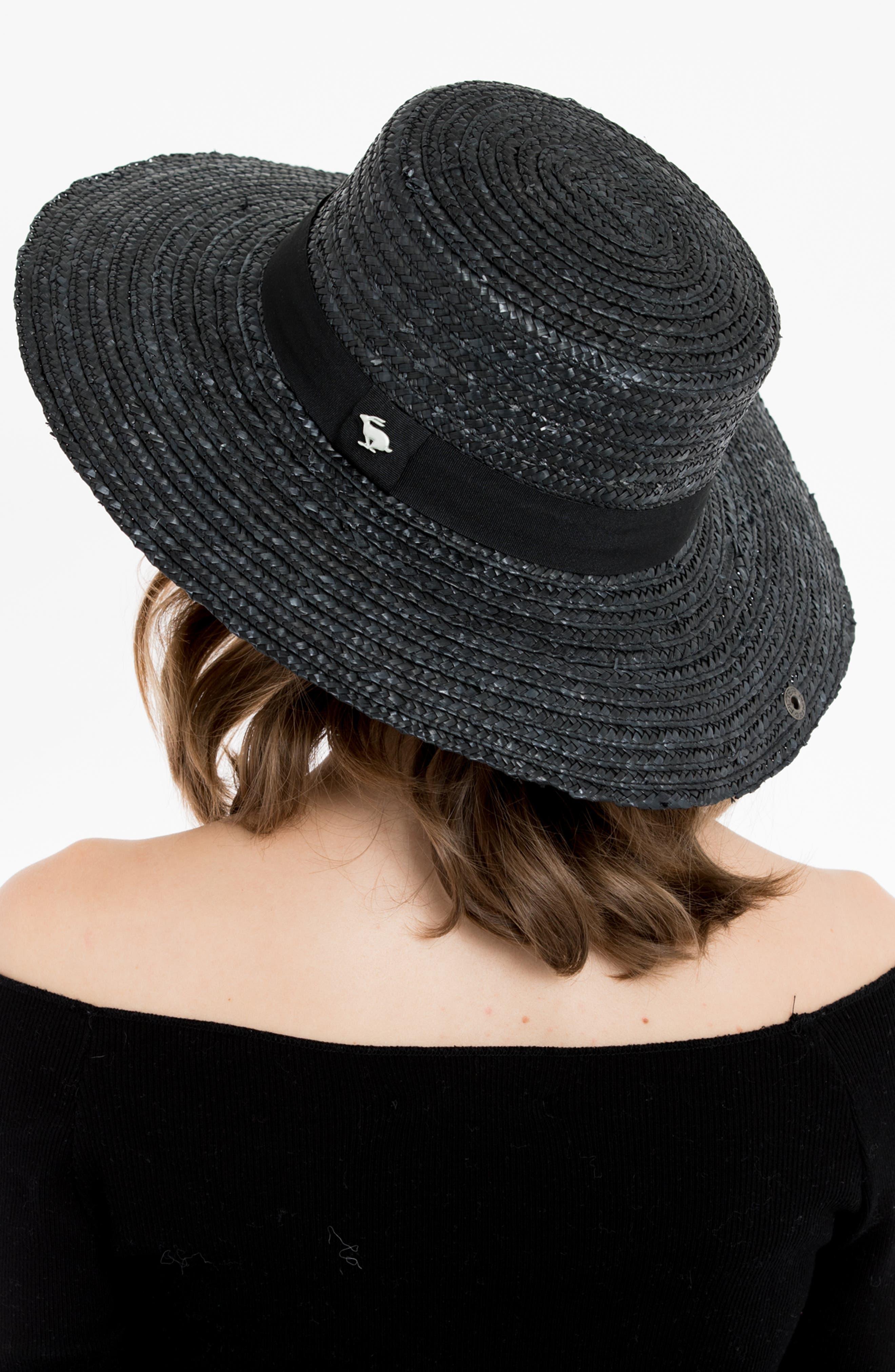 Lupe Straw Resort Hat,                             Alternate thumbnail 5, color,                             BLACK