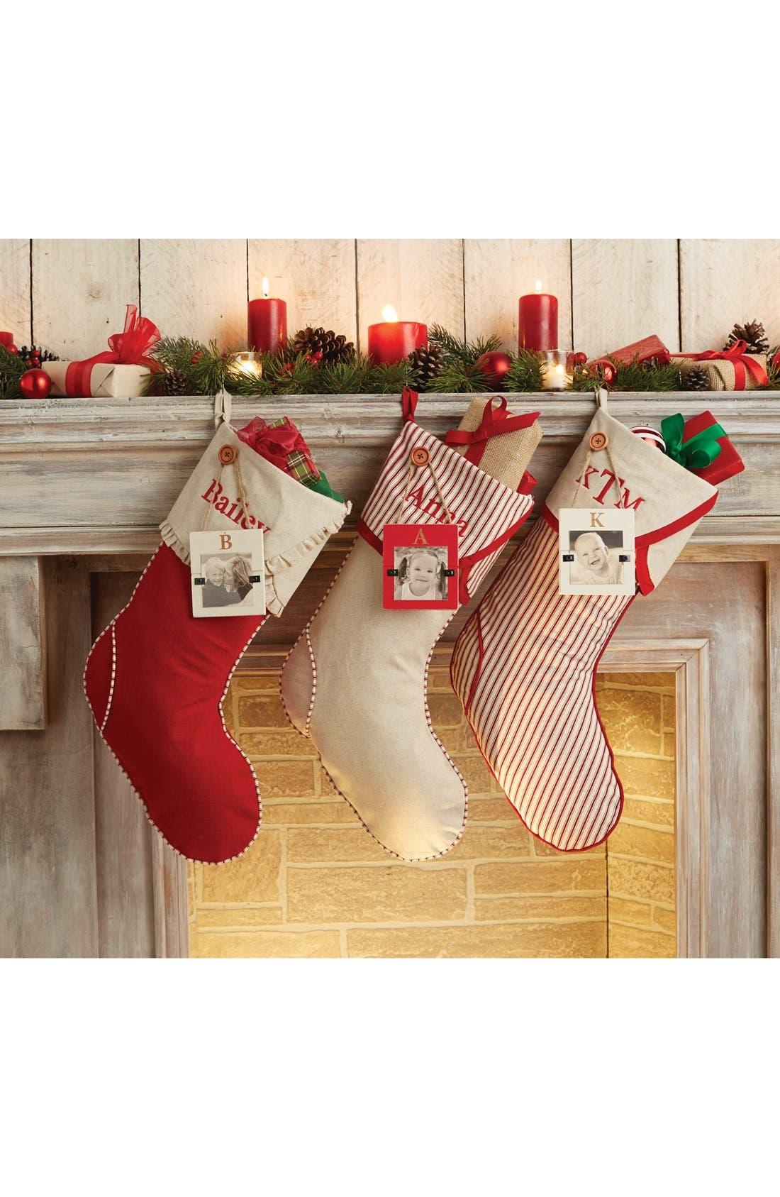 Linen Christmas Stocking & Initial Frame Ornament,                             Alternate thumbnail 2, color,                             600