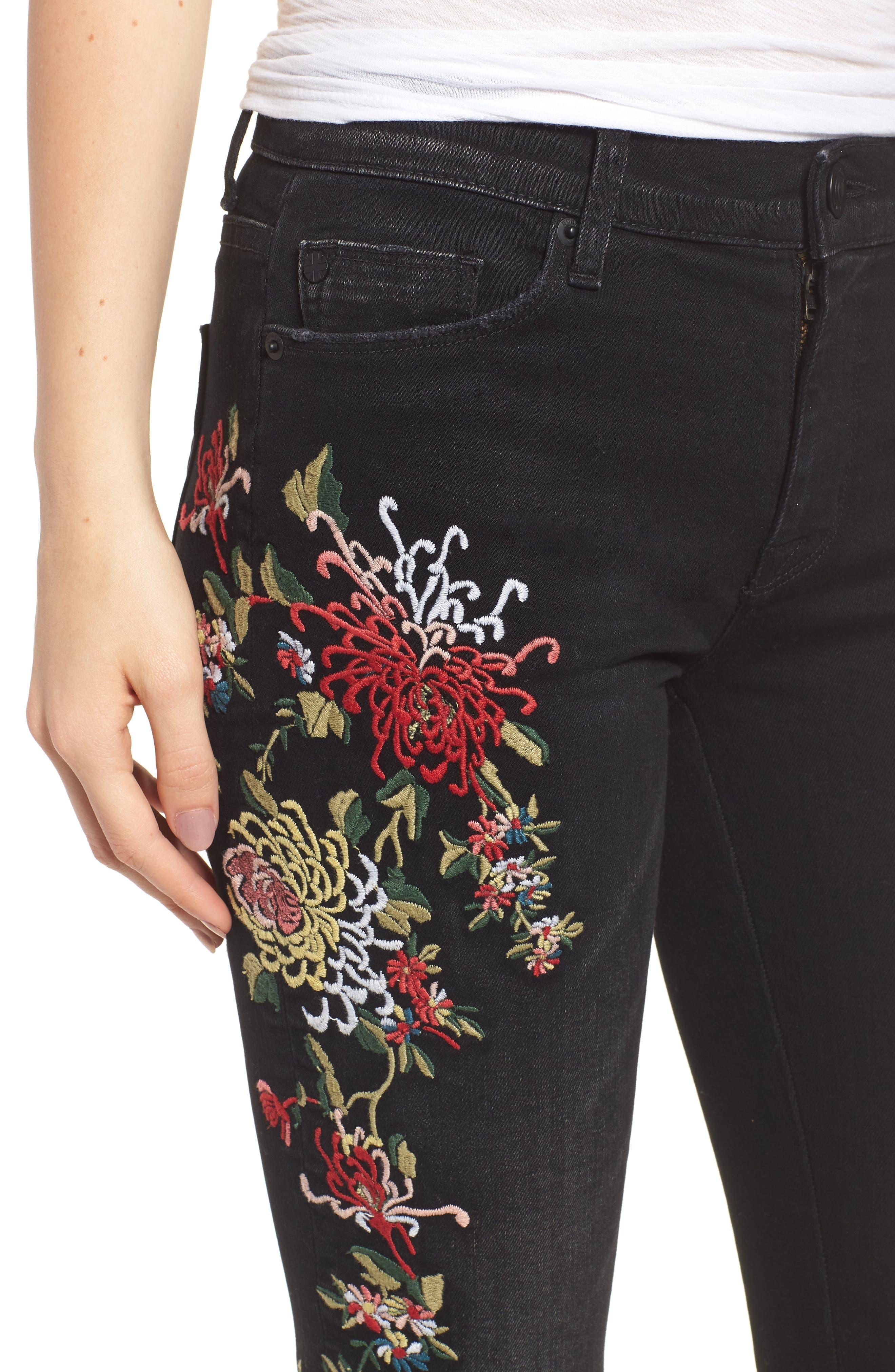 Nico Ankle Skinny Jeans,                             Alternate thumbnail 4, color,                             NOIR FLORET
