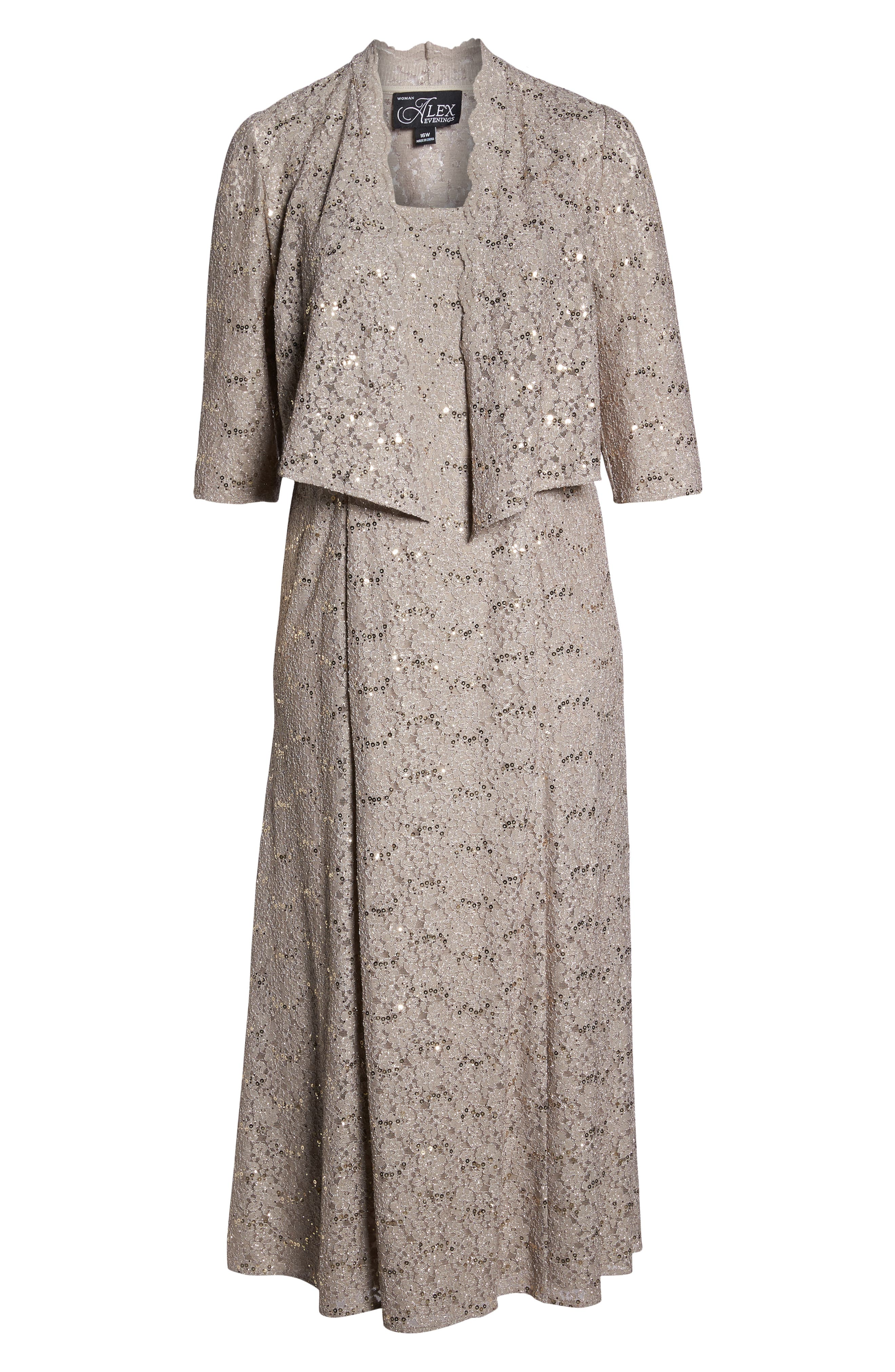 Sequin Lace Gown with Jacket,                             Alternate thumbnail 4, color,                             MINK