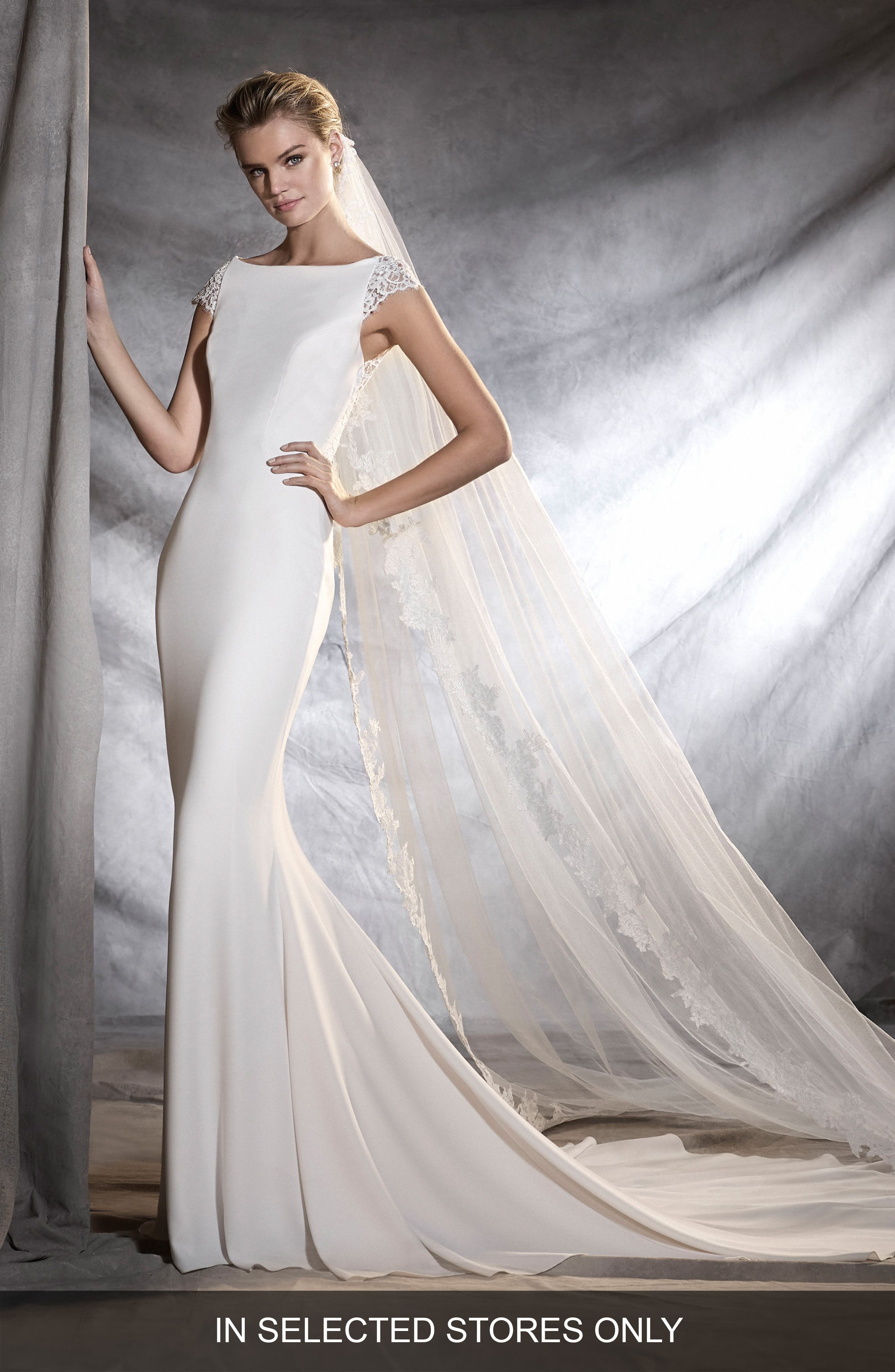 PRONOVIAS Olbia Cap Sleeve Lace Back Crepe Mermaid Gown, Main, color, 901