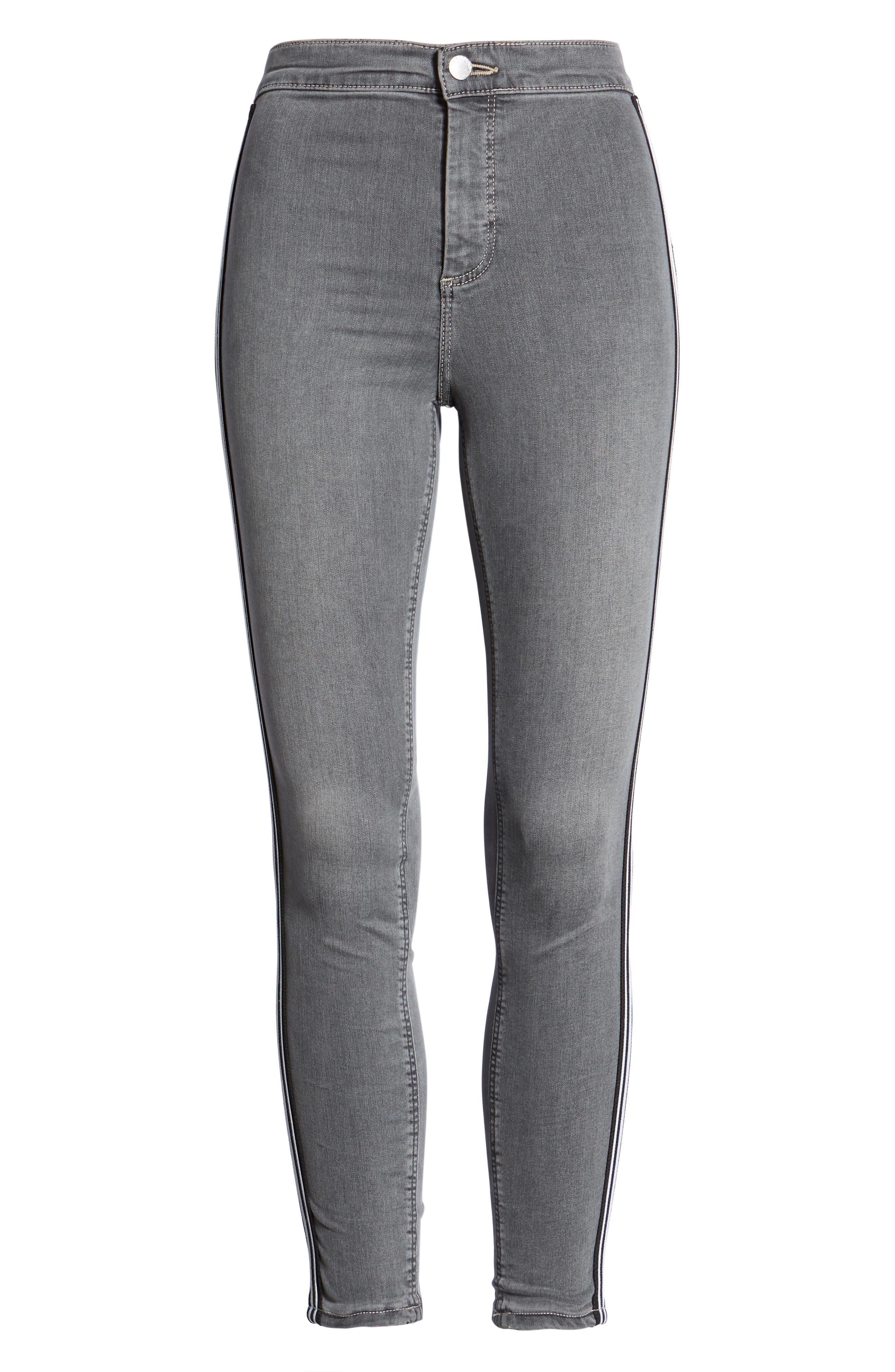 Joni Side Stripe Crop Skinny Jeans,                             Alternate thumbnail 7, color,                             GREY