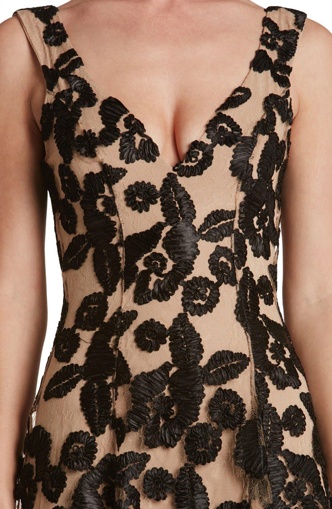 Maya Lace Fit & Flare Dress,                             Alternate thumbnail 4, color,                             002
