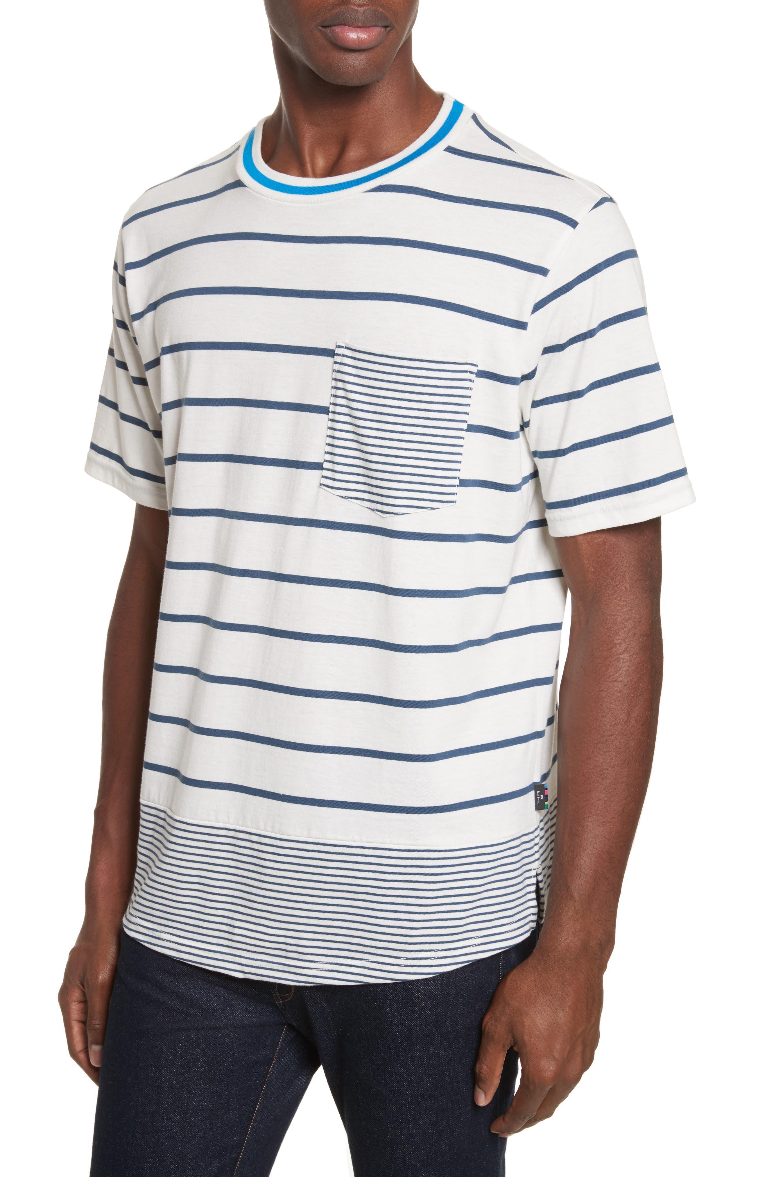 Mixed Stripe Pocket T-Shirt,                             Alternate thumbnail 4, color,                             435