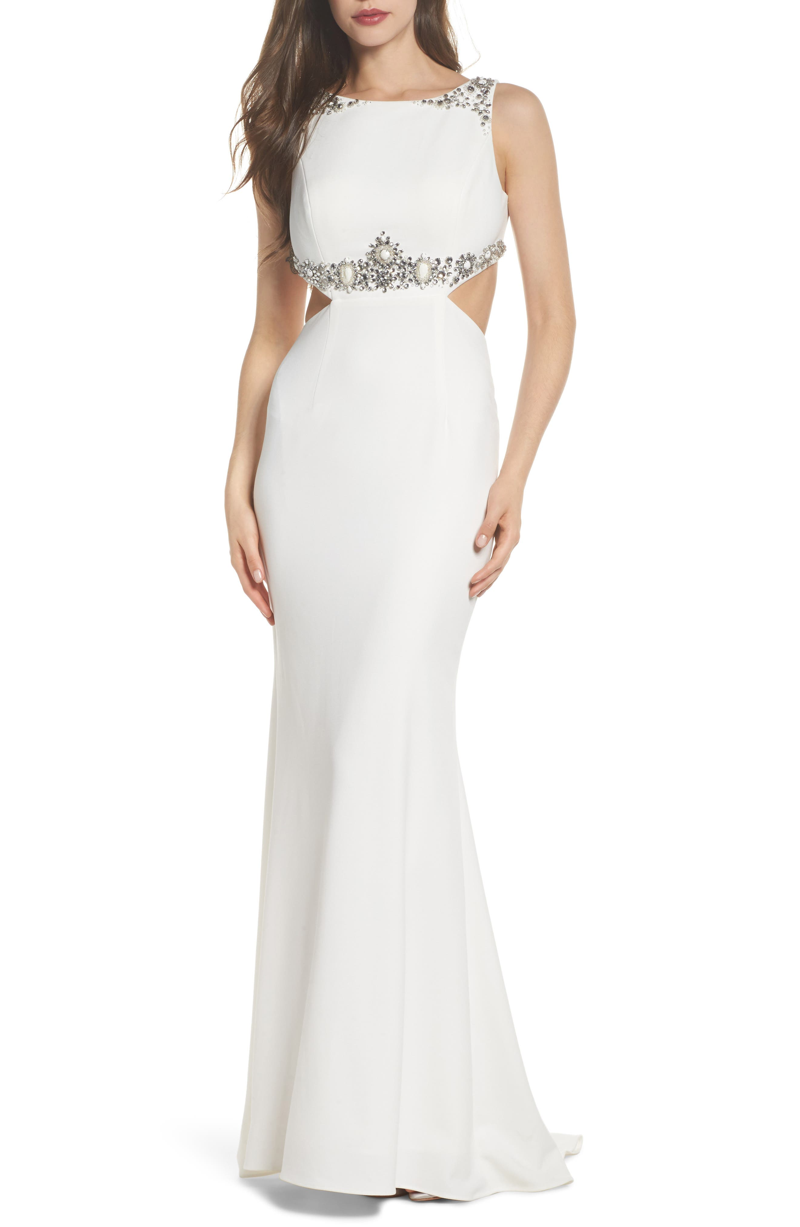 Embellished Crepe Trumpet Gown,                             Main thumbnail 1, color,